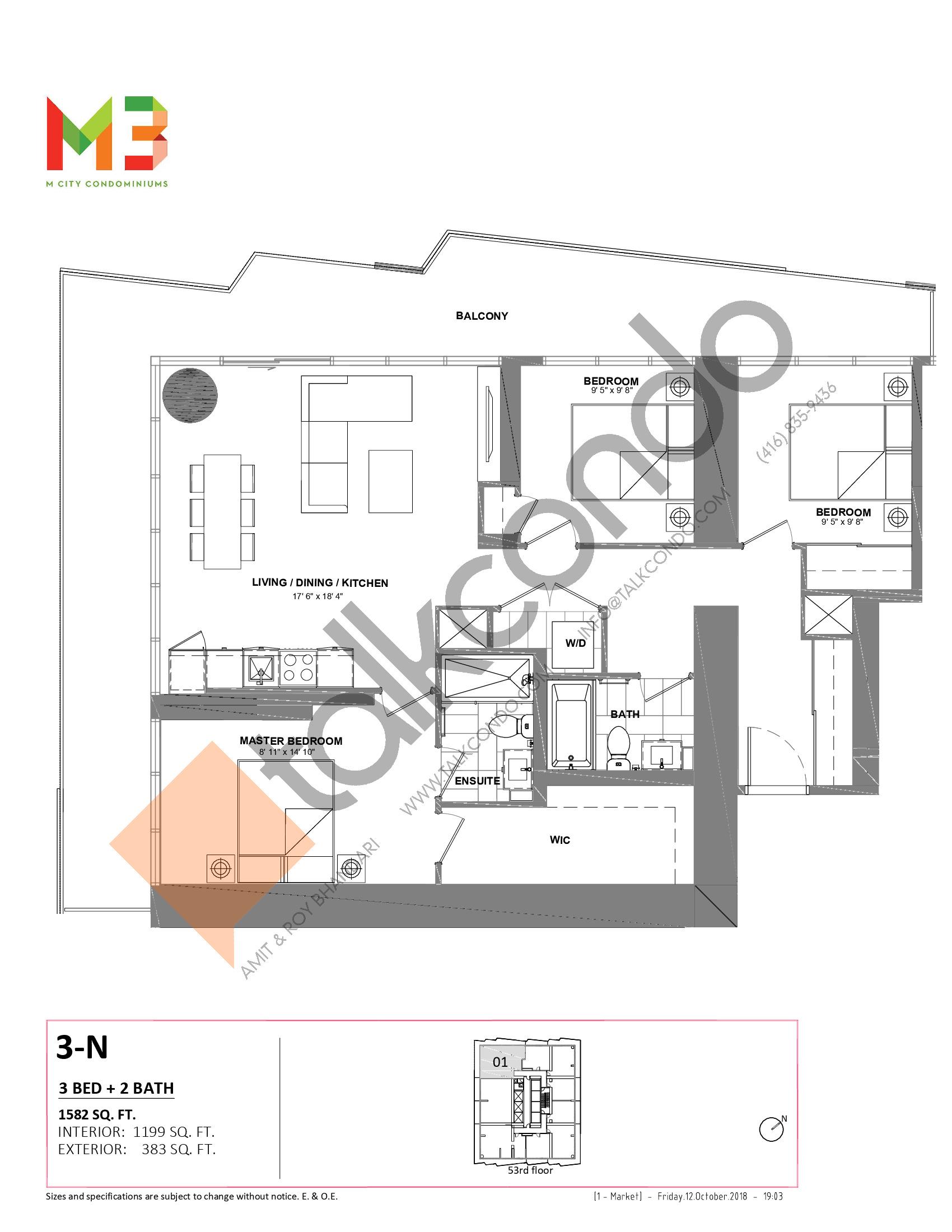 3-N Floor Plan at M3 Condos - 1199 sq.ft