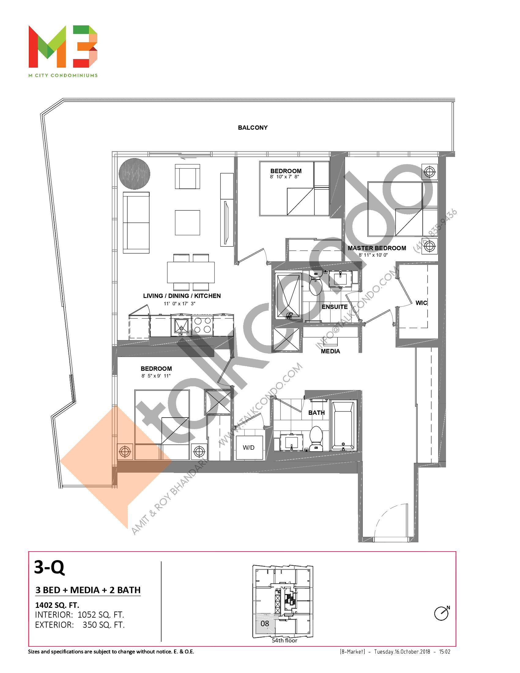 3-Q Floor Plan at M3 Condos - 1052 sq.ft