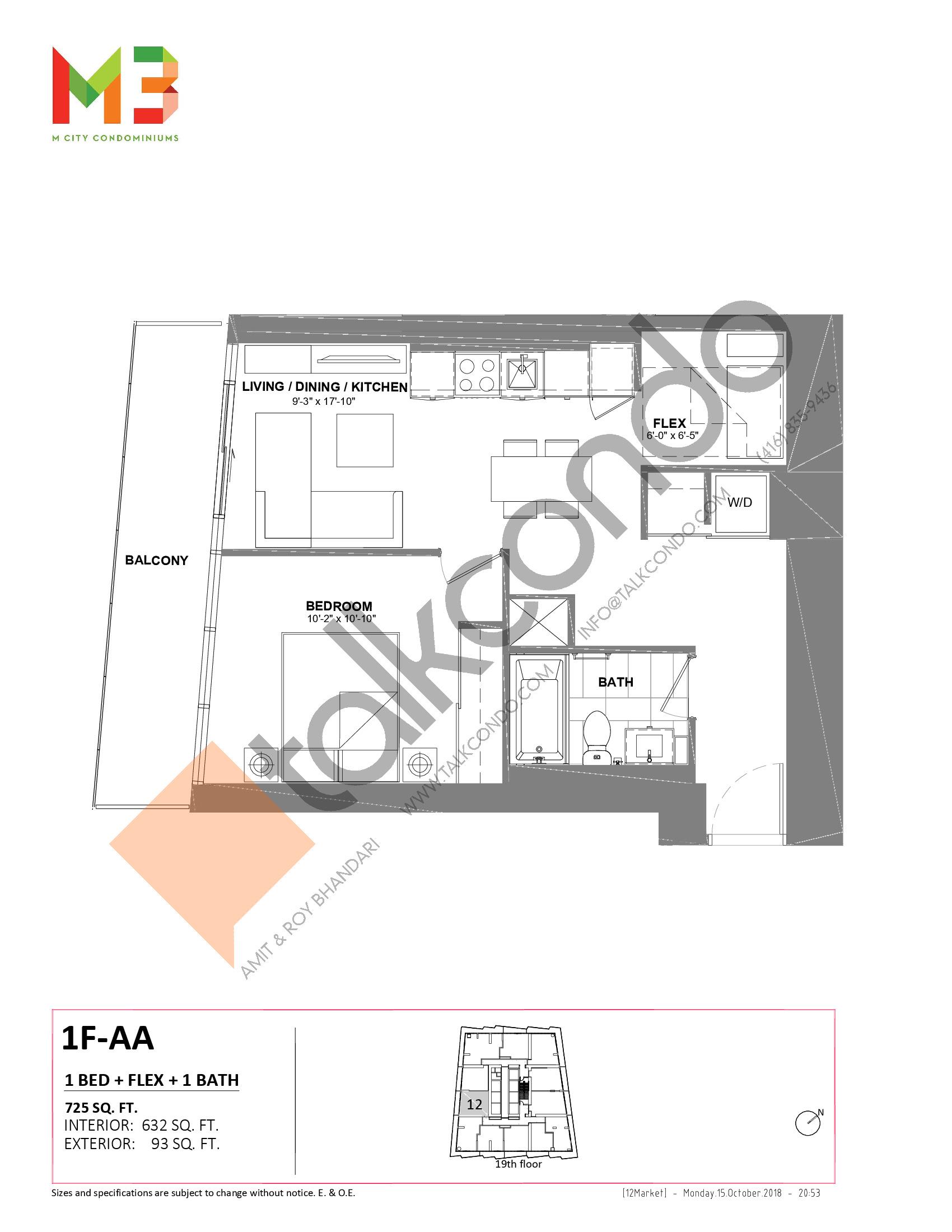 1F-AA Floor Plan at M3 Condos - 632 sq.ft