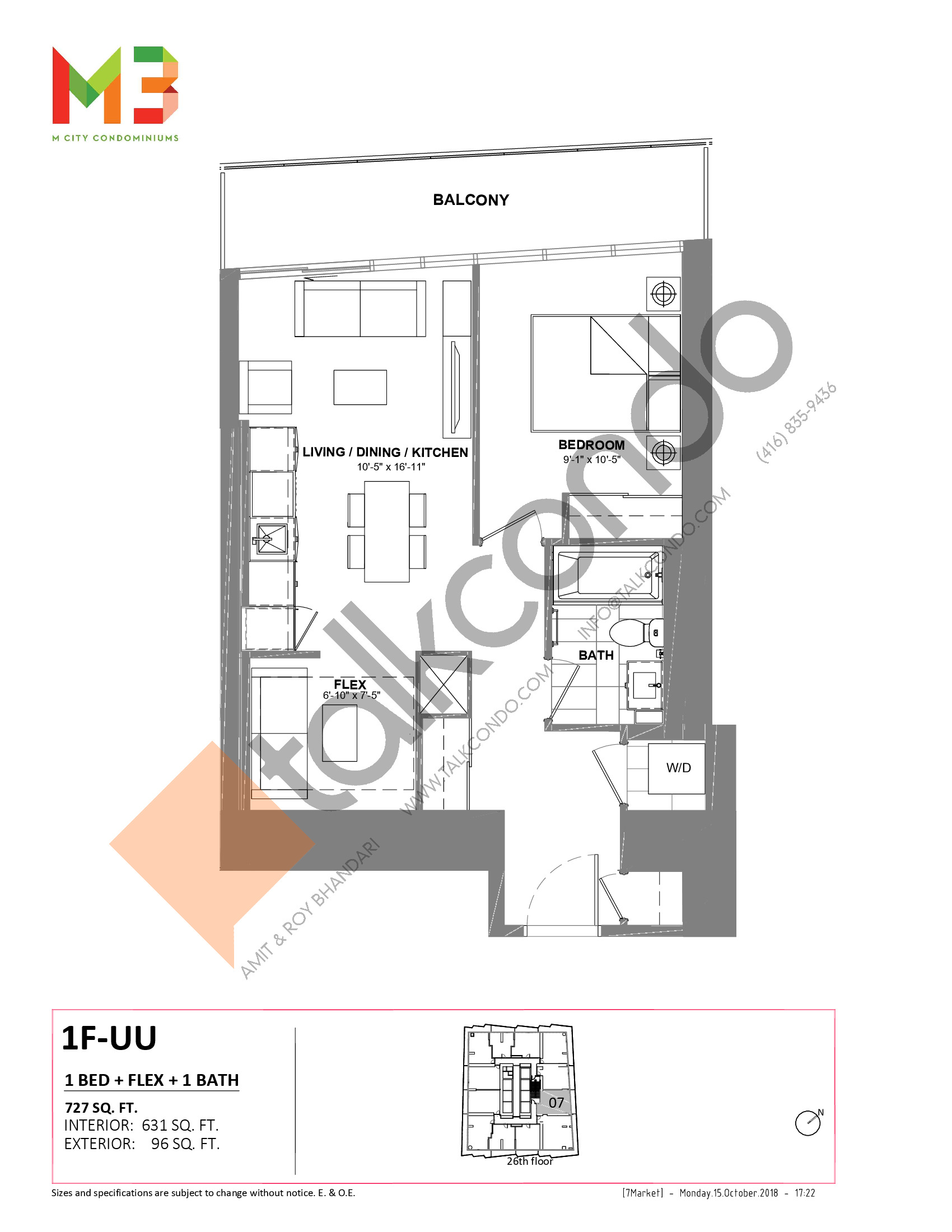 1F-UU Floor Plan at M3 Condos - 631 sq.ft
