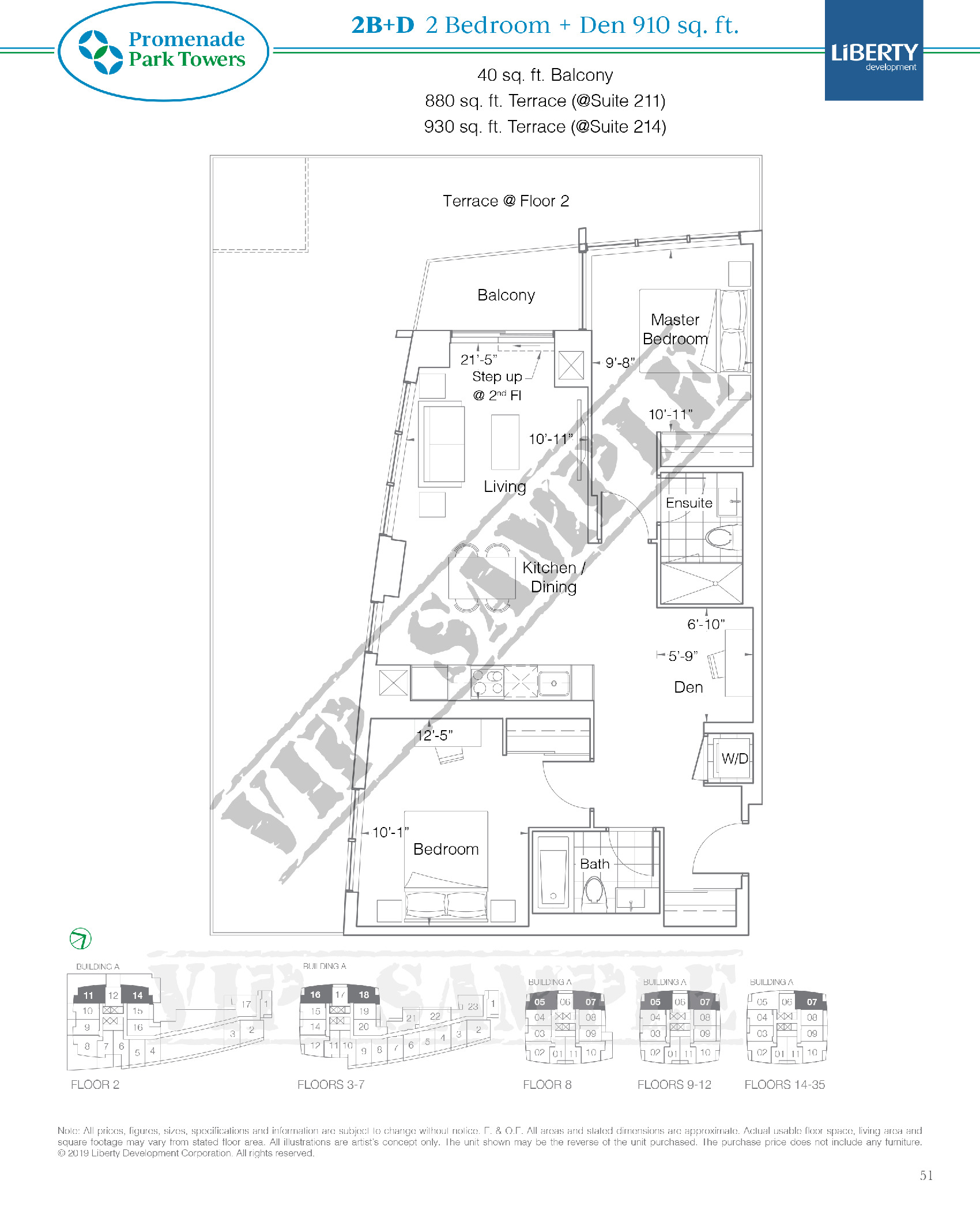 2B+D Floor Plan at Promenade Park Towers Condos - 910 sq.ft