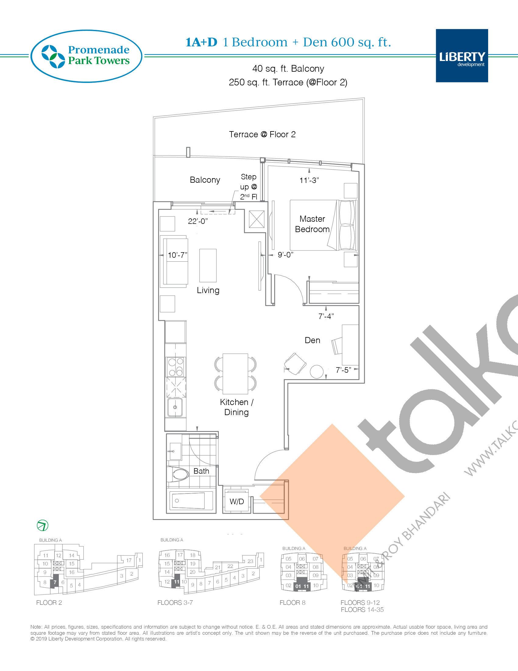 1A+D Floor Plan at Promenade Park Towers Condos - 600 sq.ft