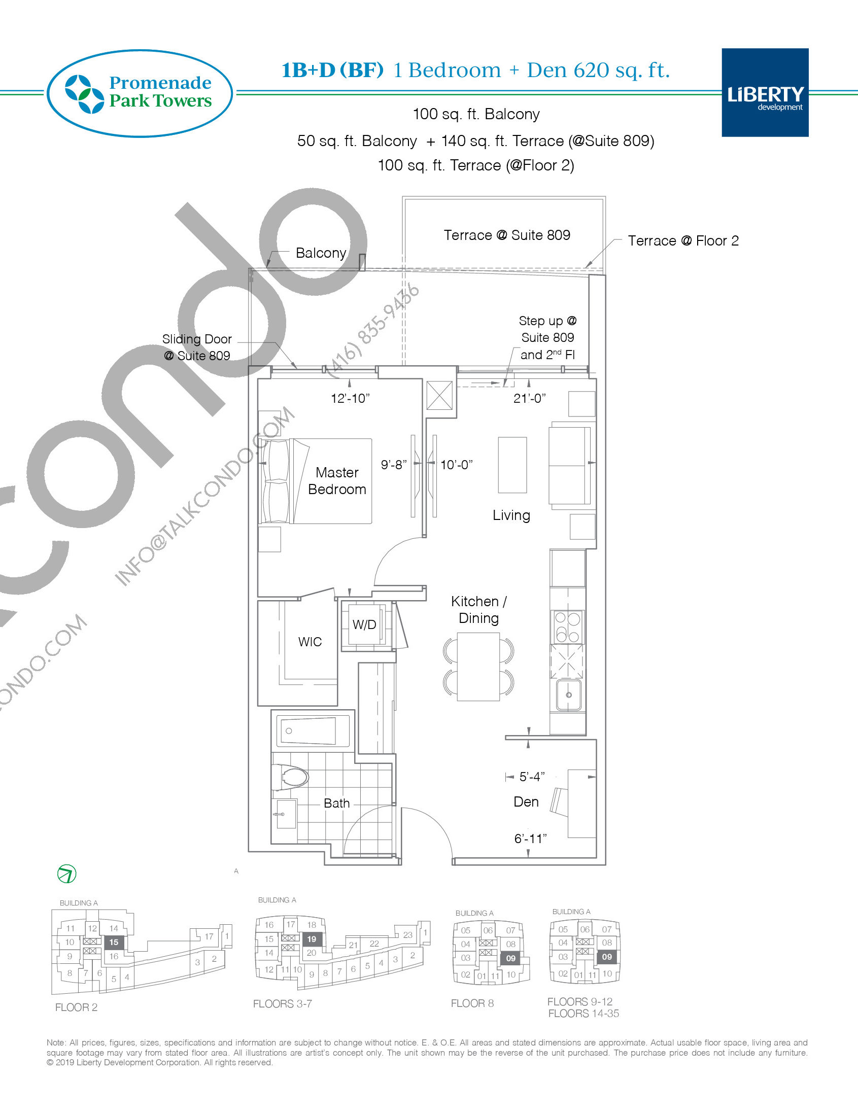 1B+D (BF) Floor Plan at Promenade Park Towers Condos - 620 sq.ft