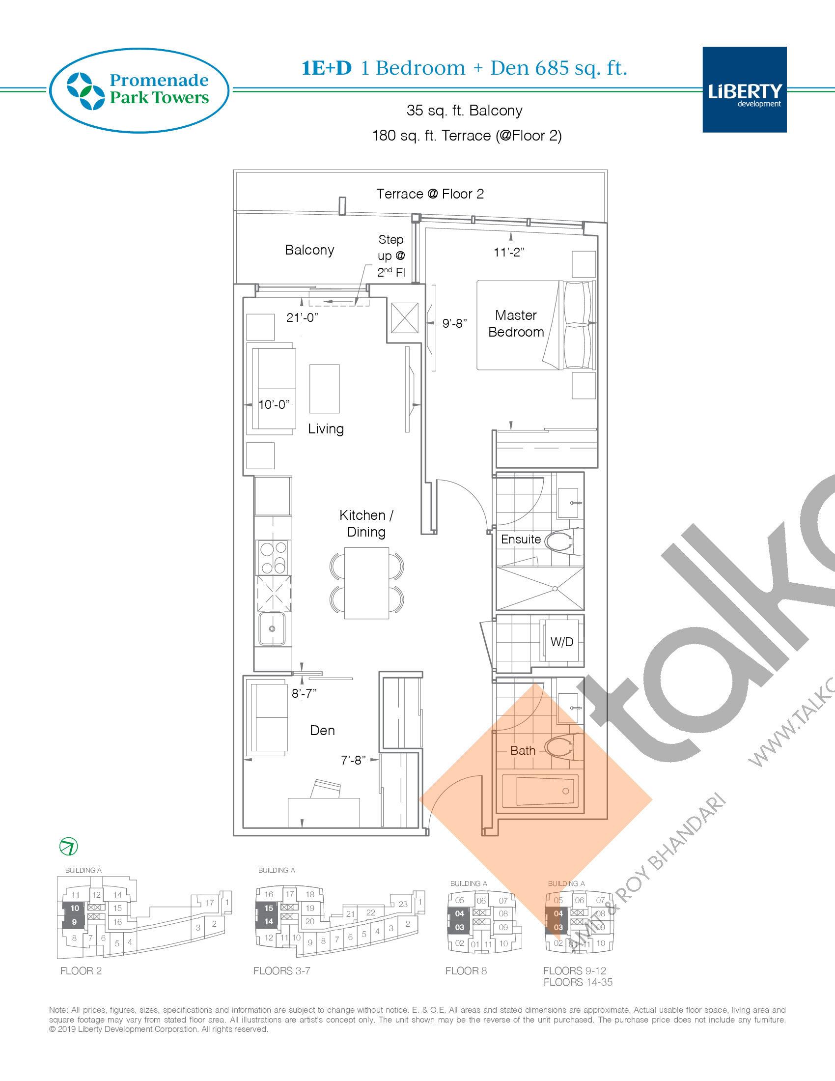 1E+D Floor Plan at Promenade Park Towers Condos - 685 sq.ft