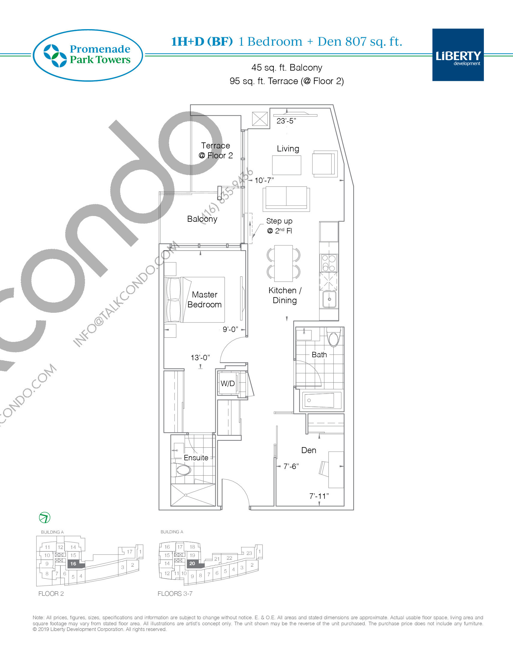 1H+D (BF) Floor Plan at Promenade Park Towers Condos - 807 sq.ft