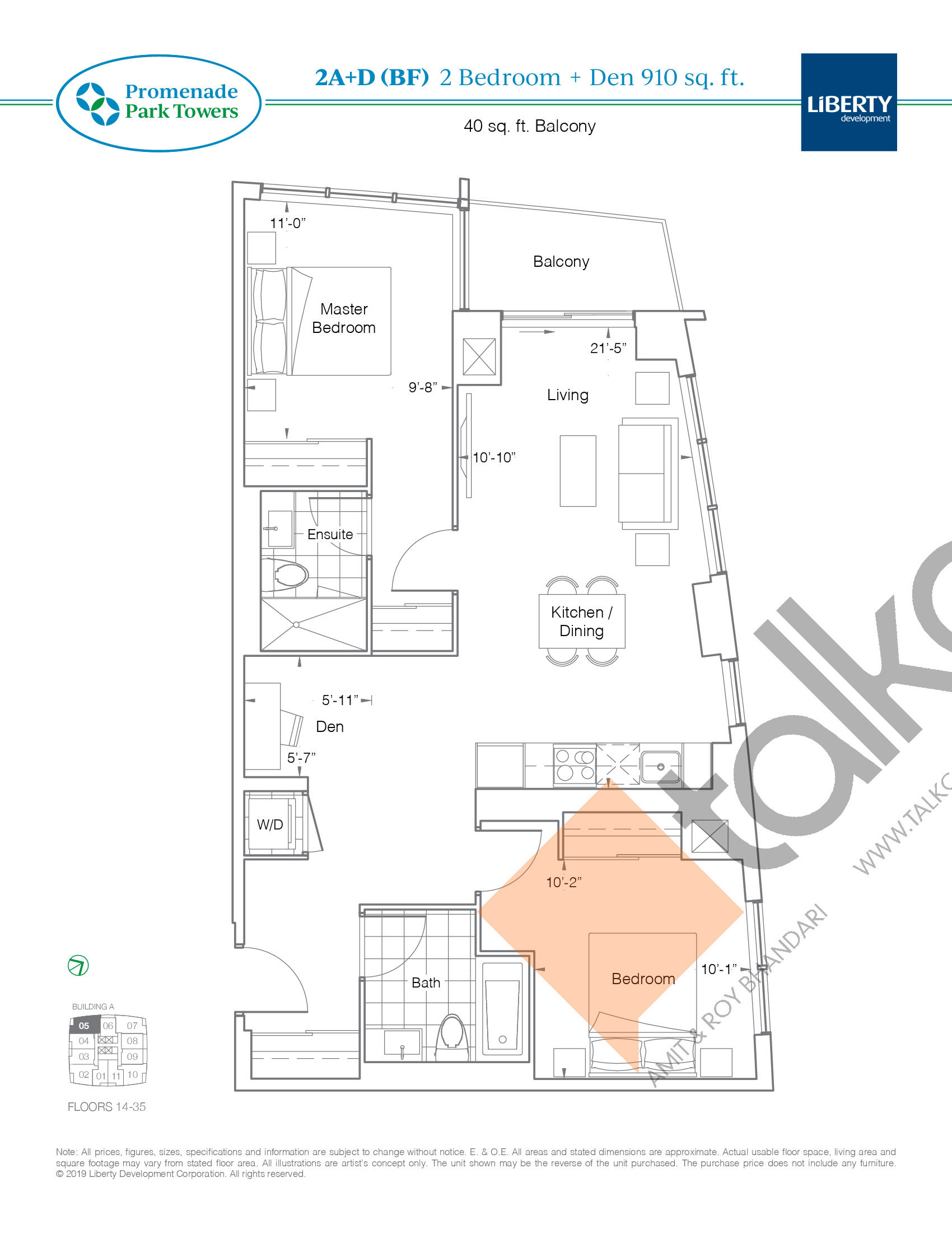 2A+D (BF) Floor Plan at Promenade Park Towers Condos - 910 sq.ft