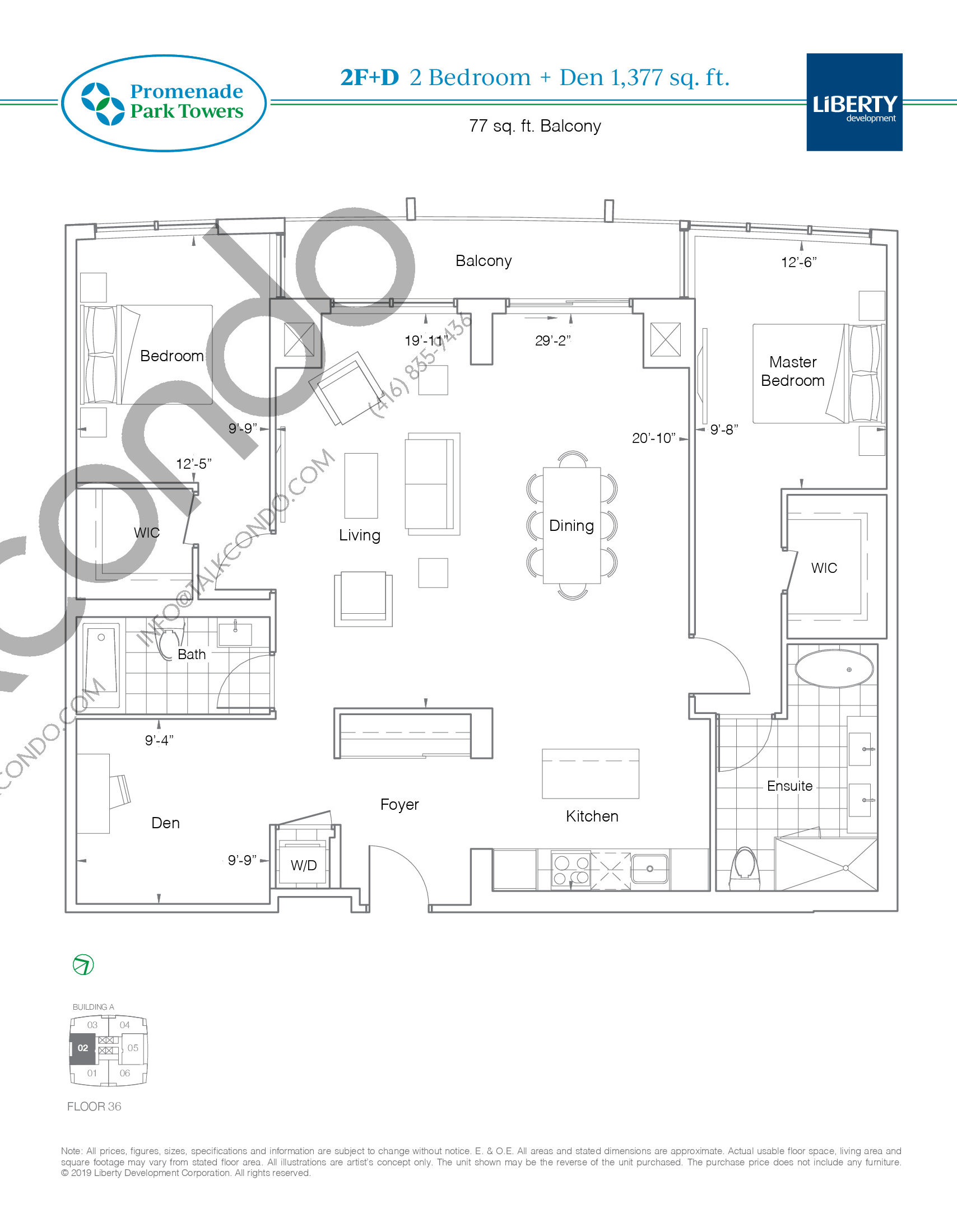 2F+D Floor Plan at Promenade Park Towers Condos - 1377 sq.ft