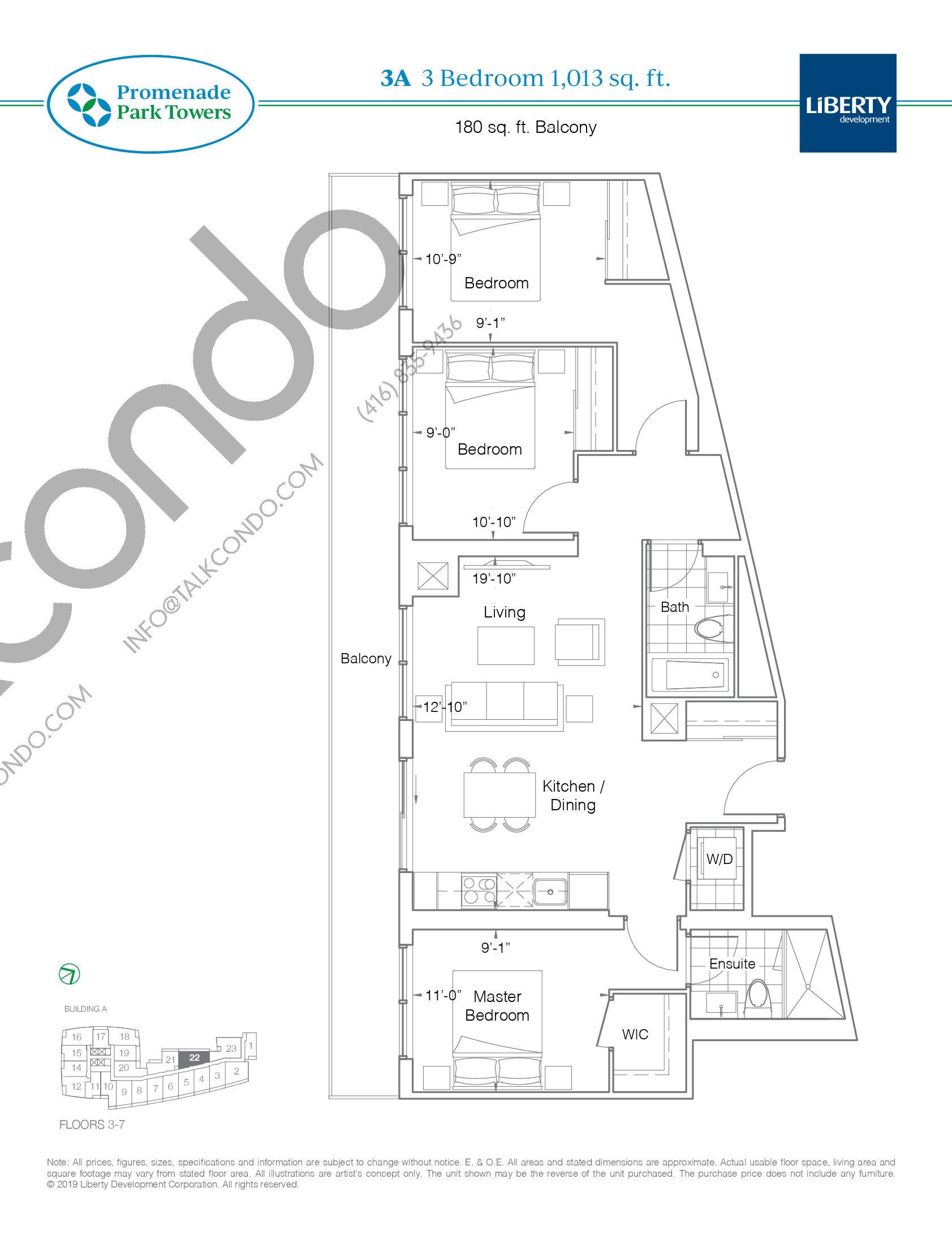 3A Floor Plan at Promenade Park Towers Condos - 1013 sq.ft