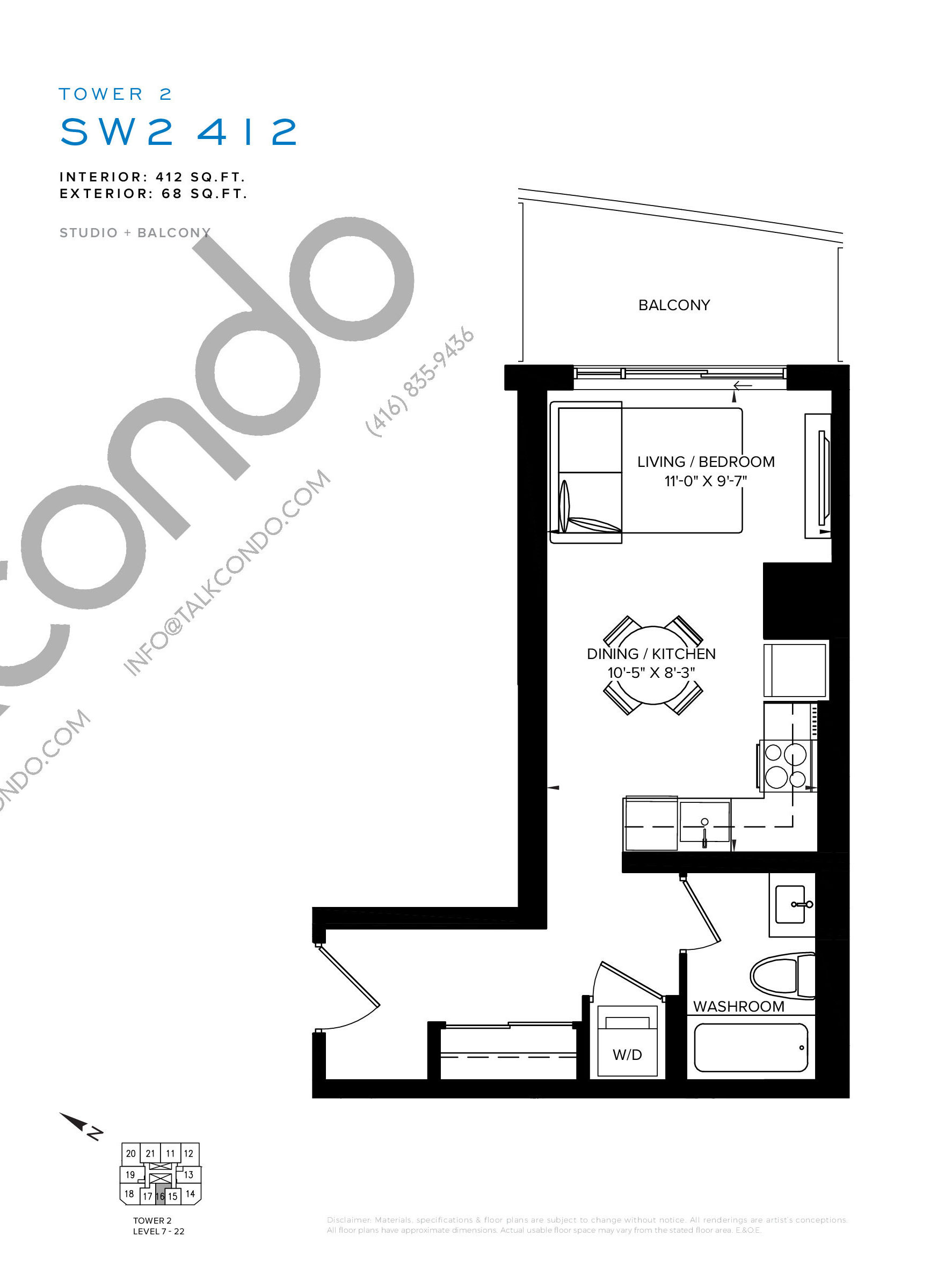 SW2 412 Floor Plan at SXSW Tower 2 Condos (SXSW2) - 412 sq.ft