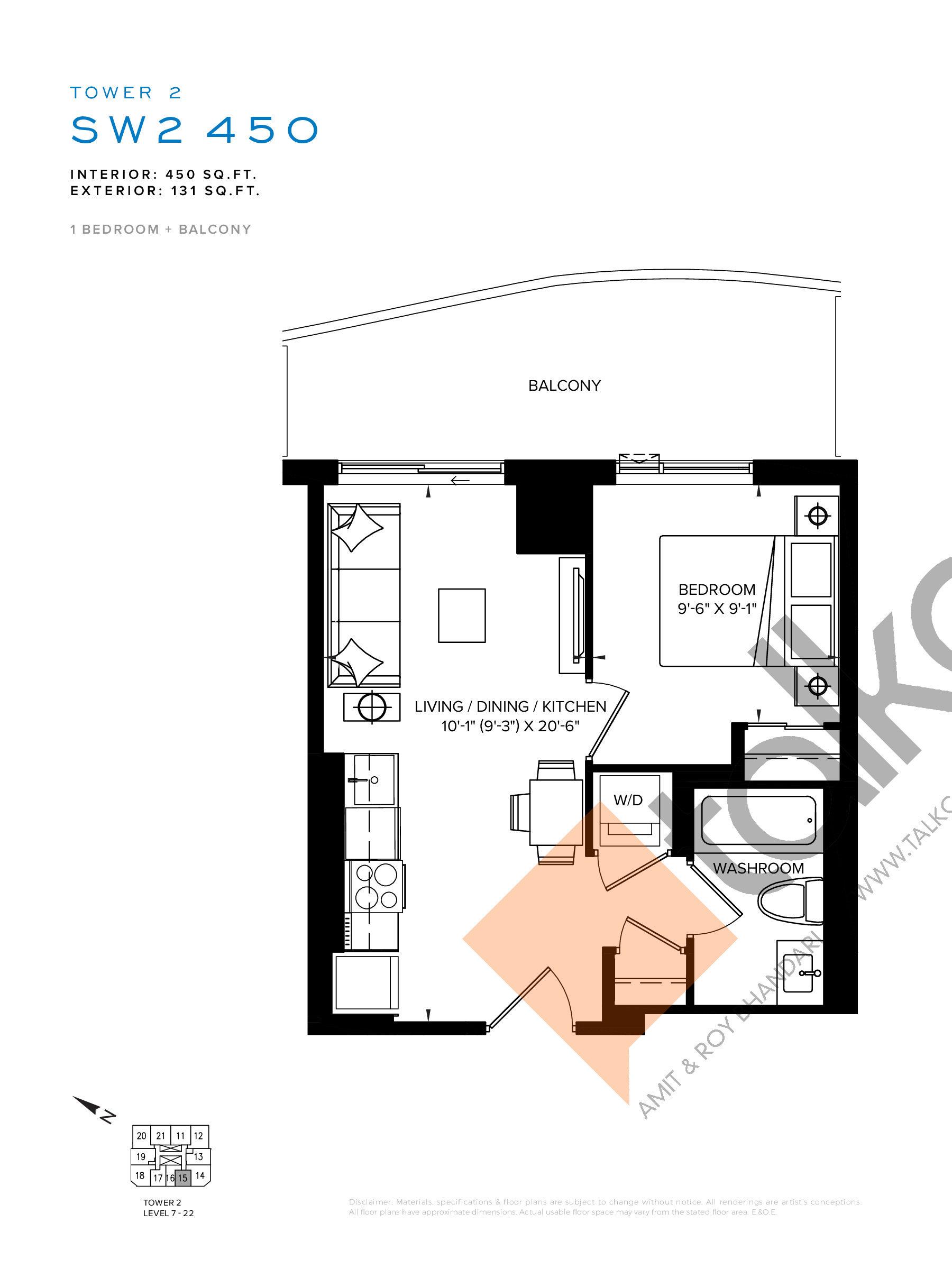 SW2 450 Floor Plan at SXSW Tower 2 Condos (SXSW2) - 450 sq.ft