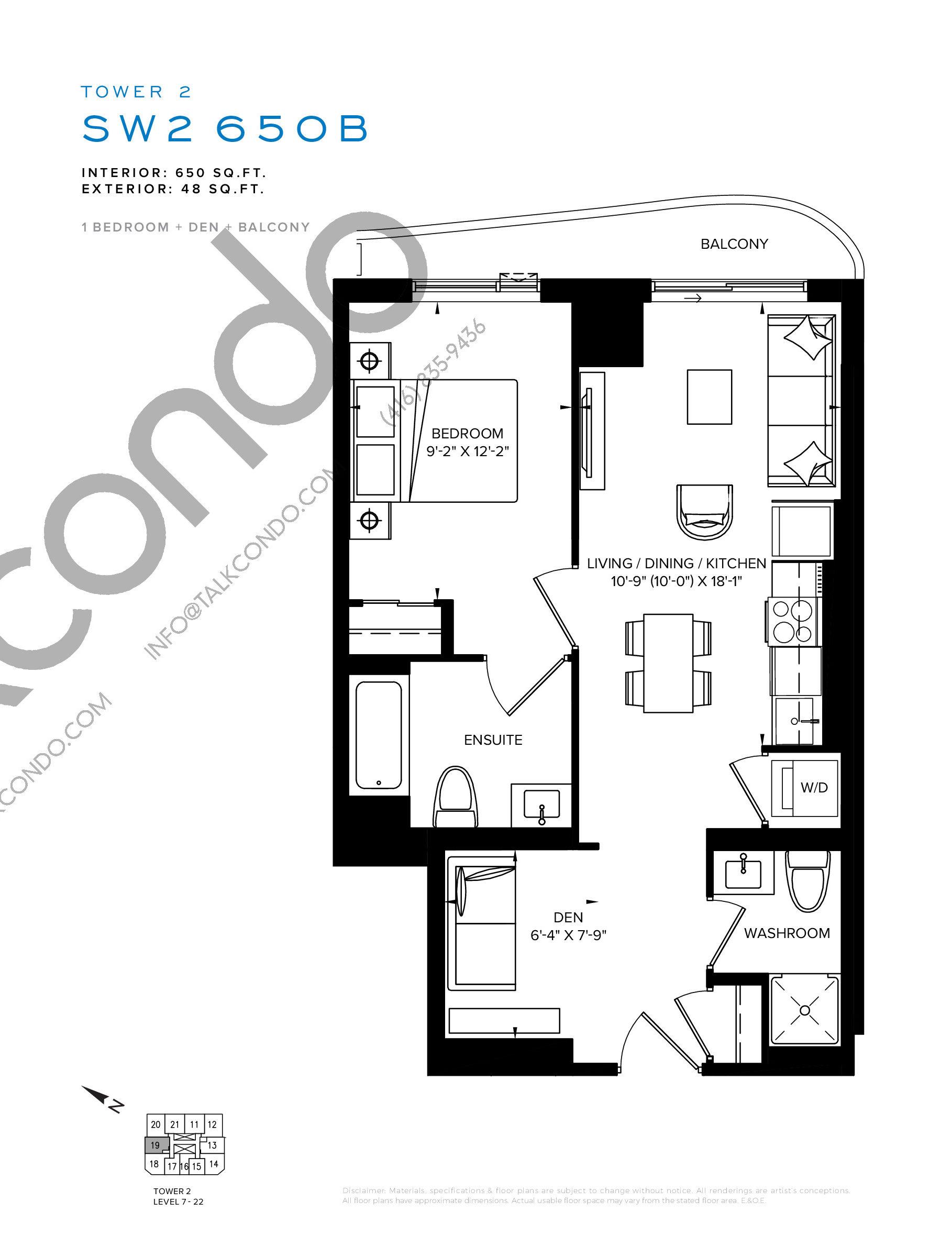 SW2 650B Floor Plan at SXSW Tower 2 Condos (SXSW2) - 650 sq.ft