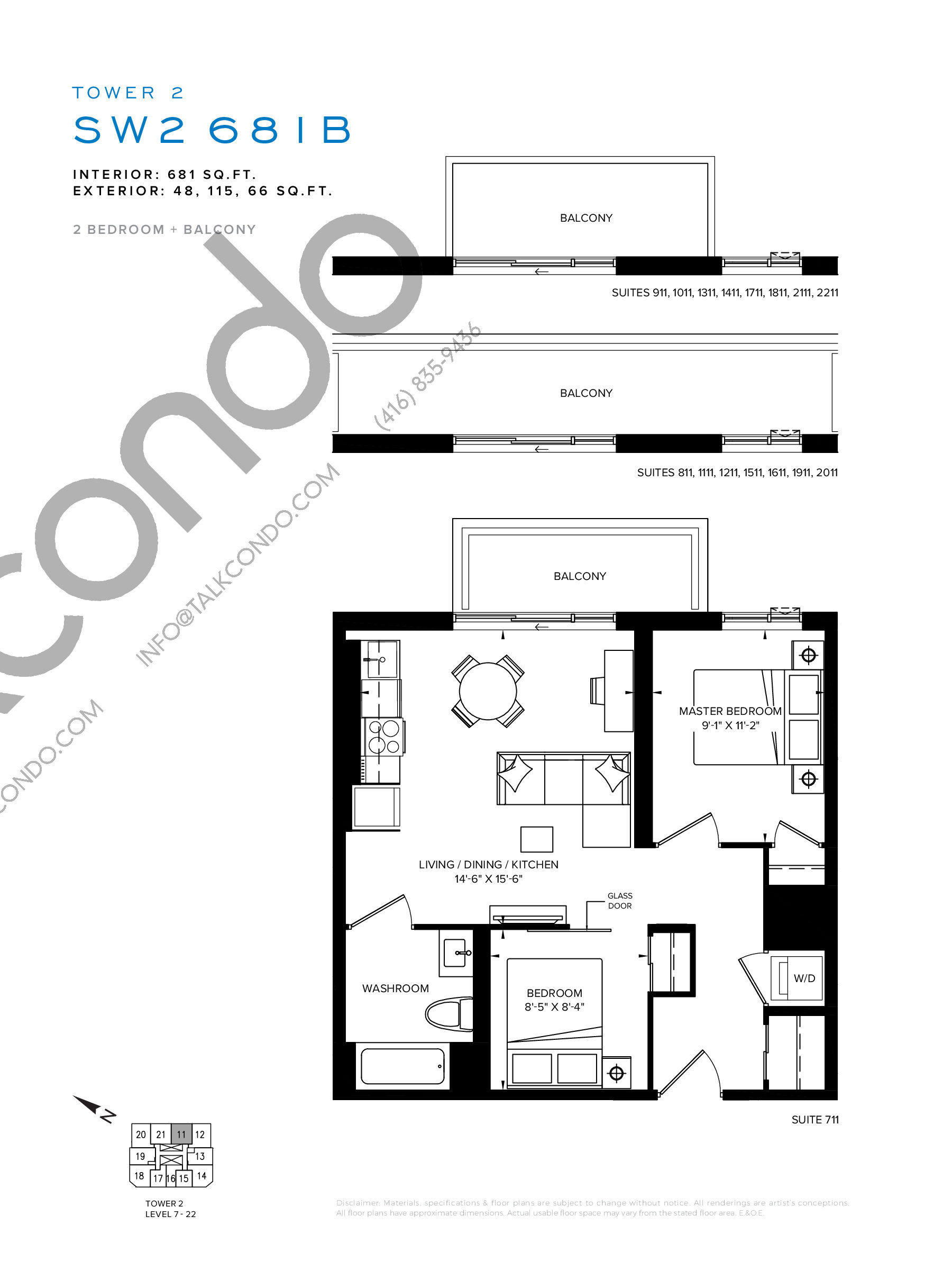 SW2 681B Floor Plan at SXSW Tower 2 Condos (SXSW2) - 681 sq.ft