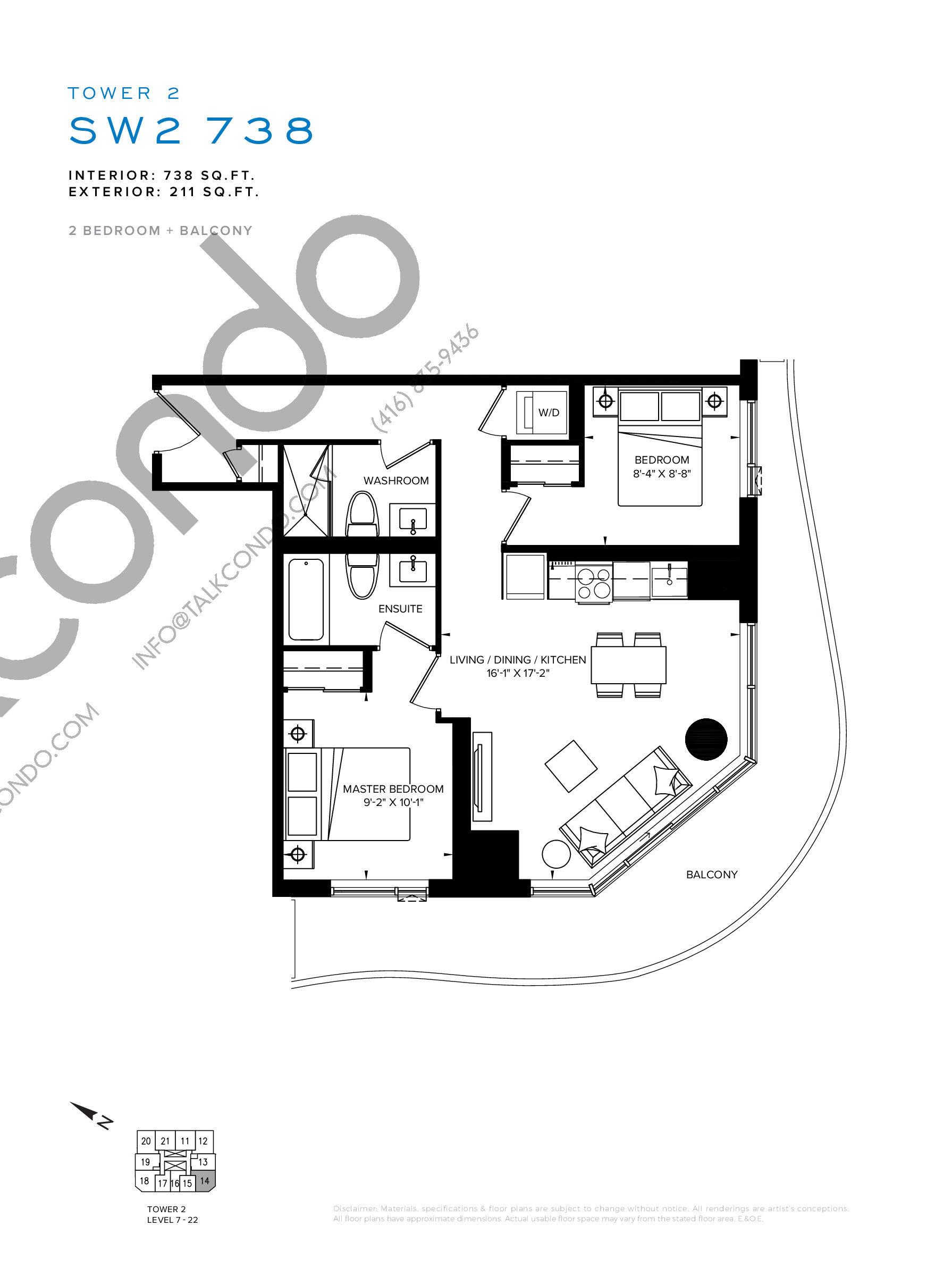 SW2 738 Floor Plan at SXSW Tower 2 Condos (SXSW2) - 738 sq.ft