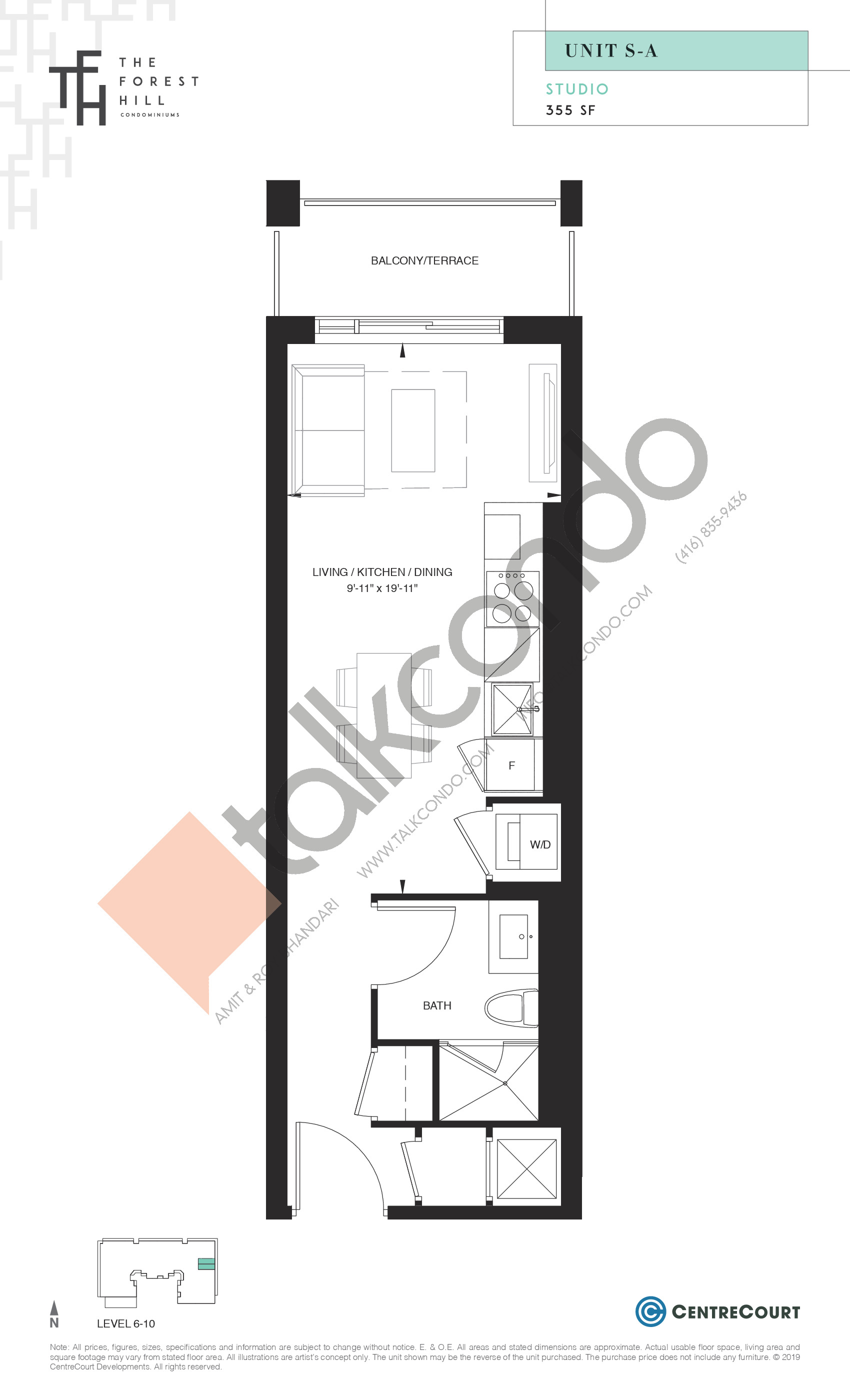 Unit S-A Floor Plan at The Forest Hill Condos - 355 sq.ft