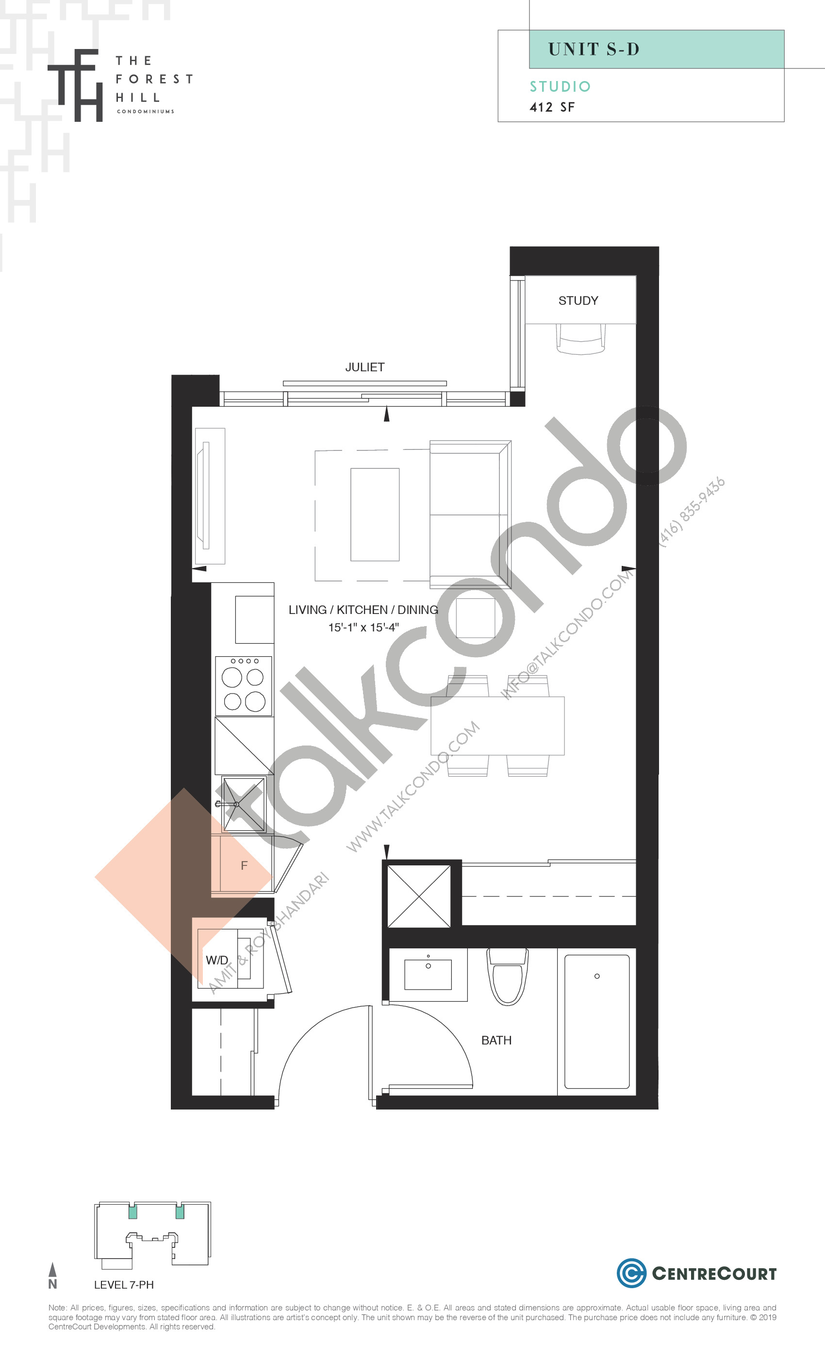 Unit S-D Floor Plan at The Forest Hill Condos - 412 sq.ft