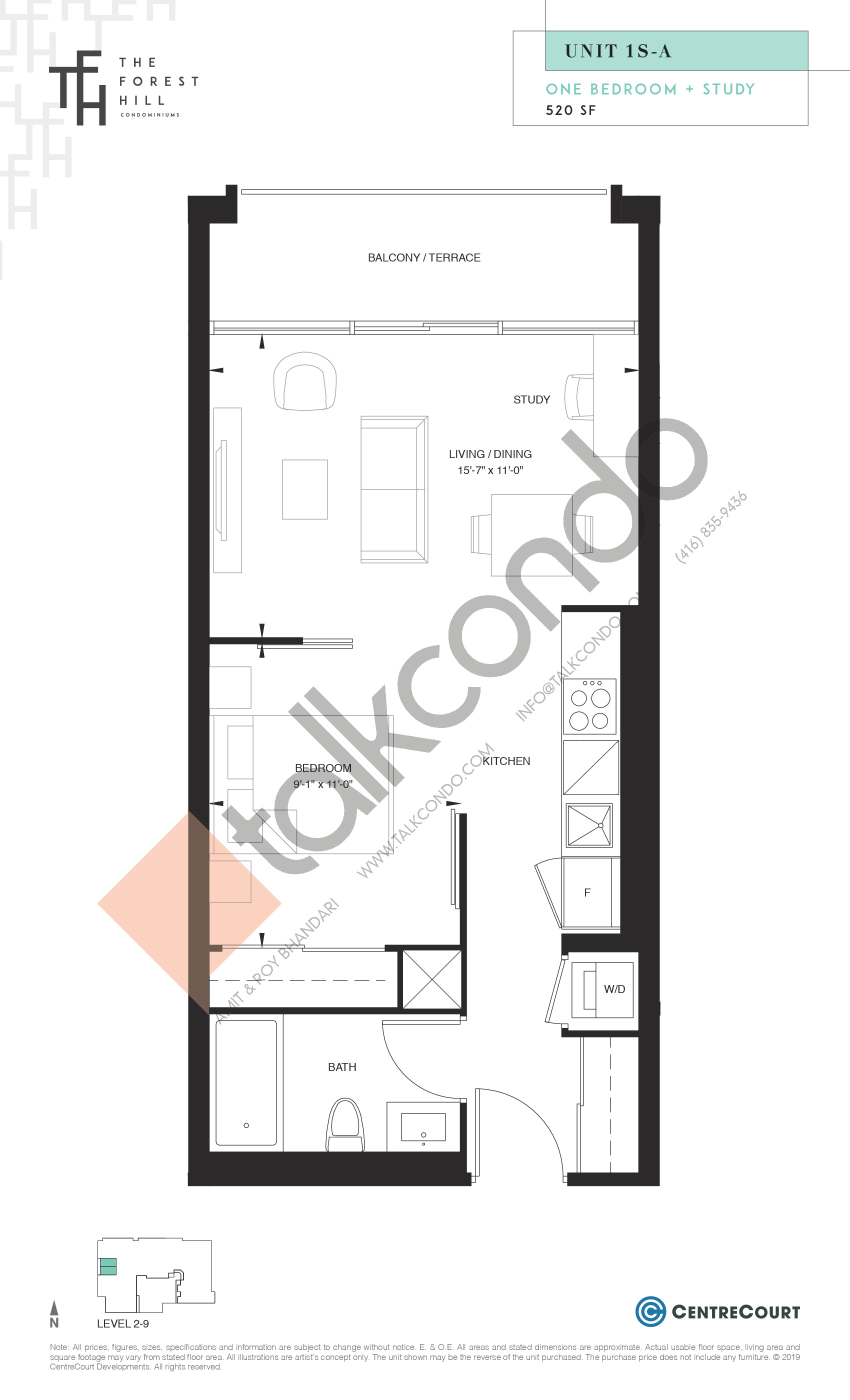 Unit 1S-A Floor Plan at The Forest Hill Condos - 520 sq.ft