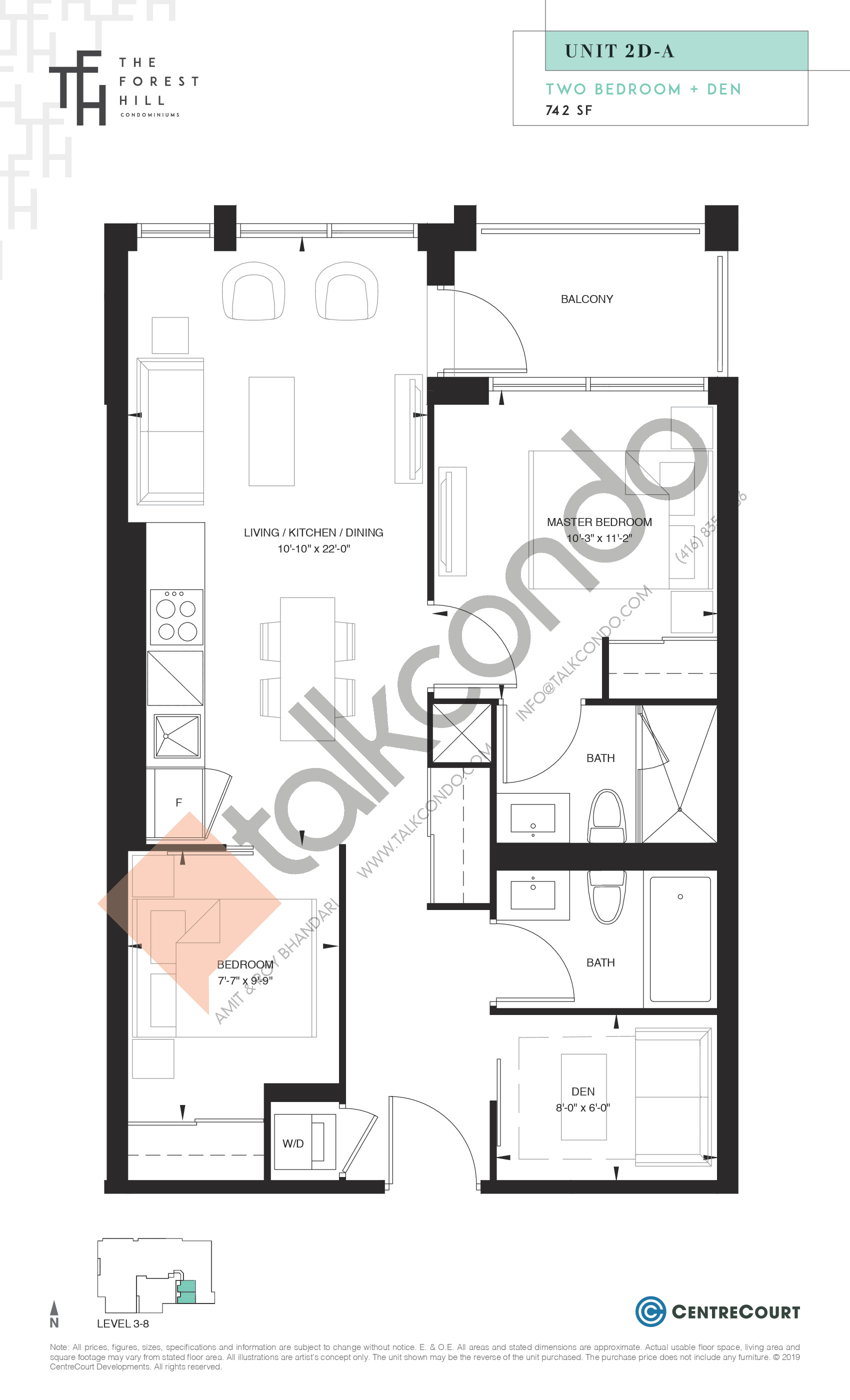 Unit 2D-A Floor Plan at The Forest Hill Condos - 742 sq.ft