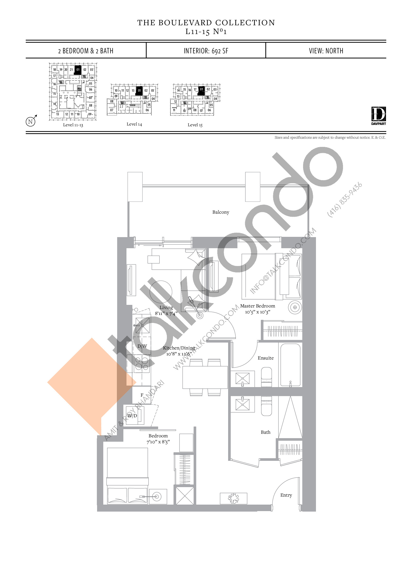 No 1 - The Boulevard Collection Floor Plan at The United Bldg. Condos - 692 sq.ft