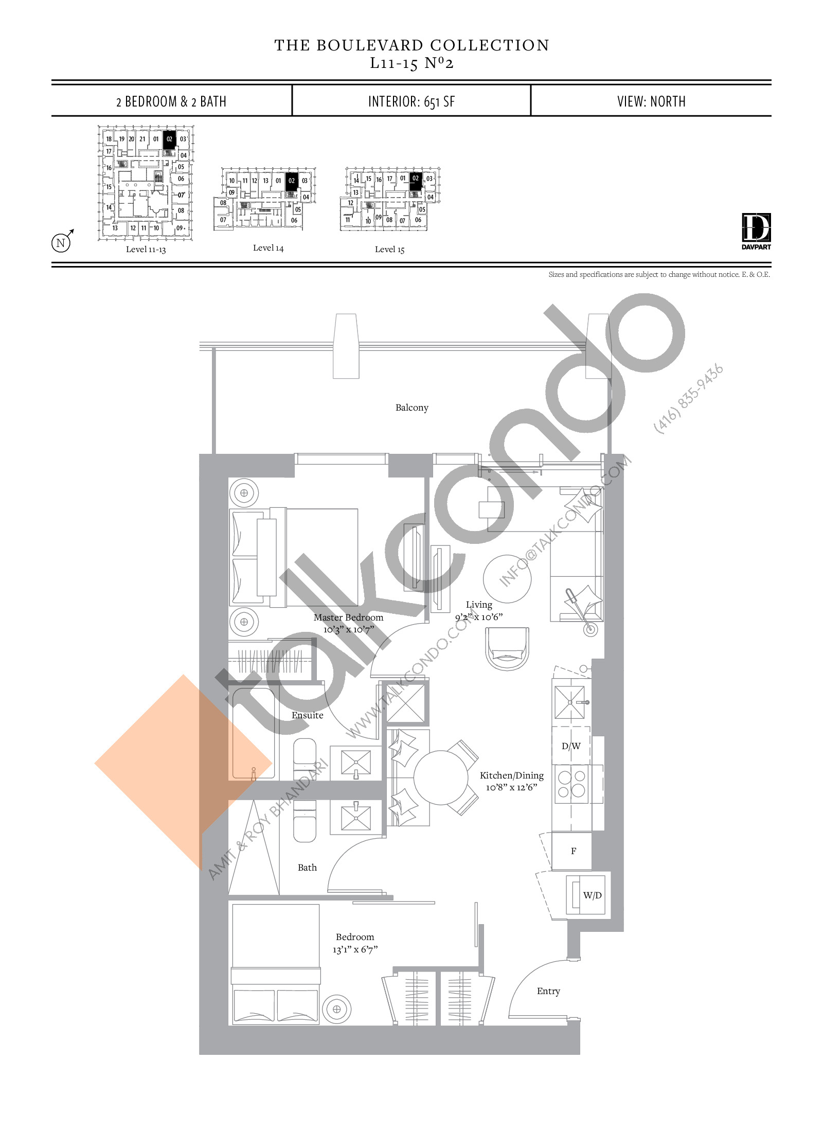 No 2 - The Boulevard Collection Floor Plan at The United Bldg. Condos - 651 sq.ft