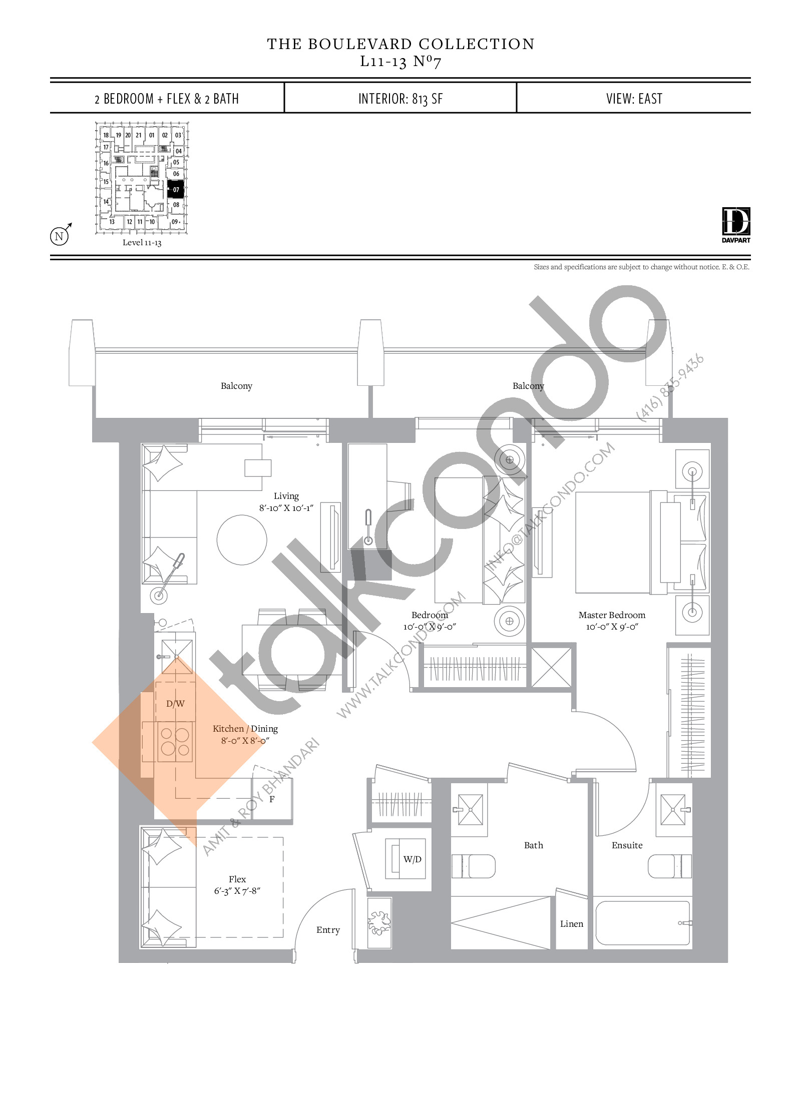 No 7 - The Boulevard Collection Floor Plan at The United Bldg. Condos - 813 sq.ft