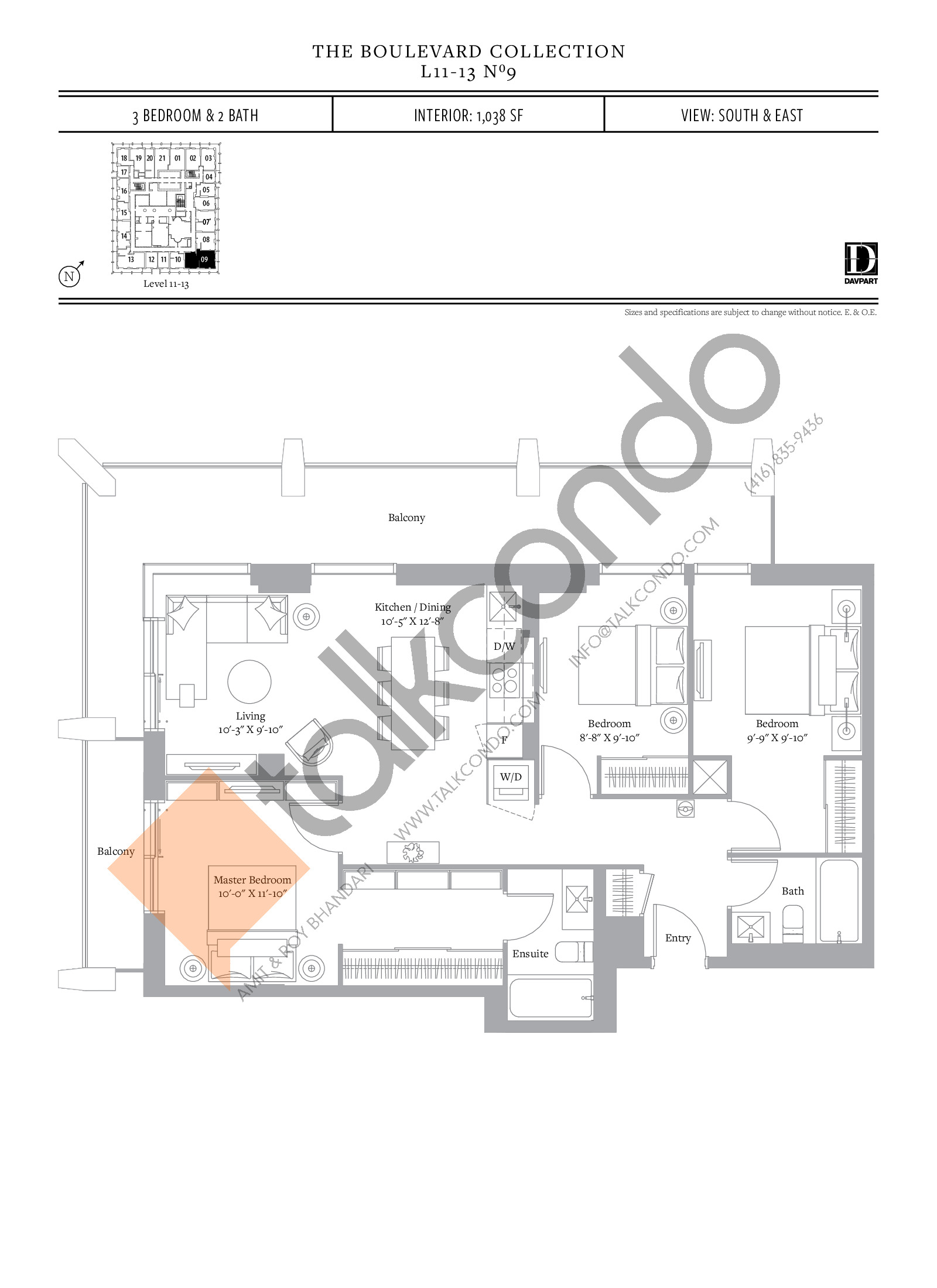 No 9 - The Boulevard Collection Floor Plan at The United Bldg. Condos - 1038 sq.ft
