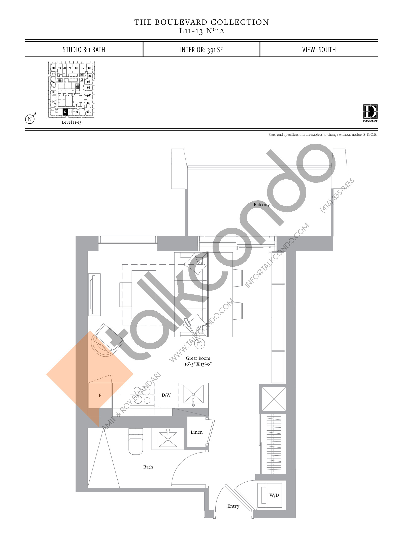 No 12 - The Boulevard Collection Floor Plan at The United Bldg. Condos - 391 sq.ft