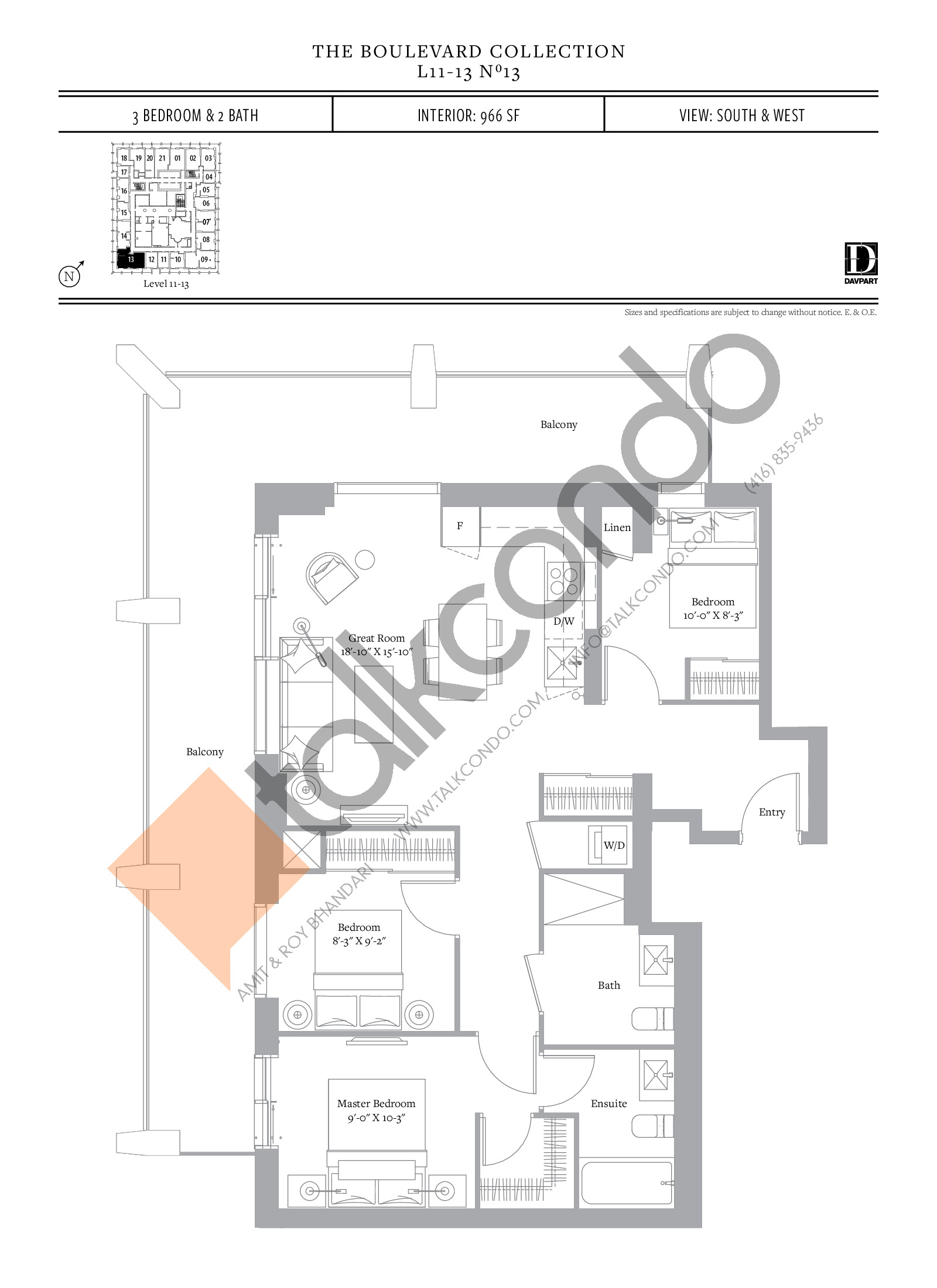 No 13 - The Boulevard Collection Floor Plan at The United Bldg. Condos - 966 sq.ft