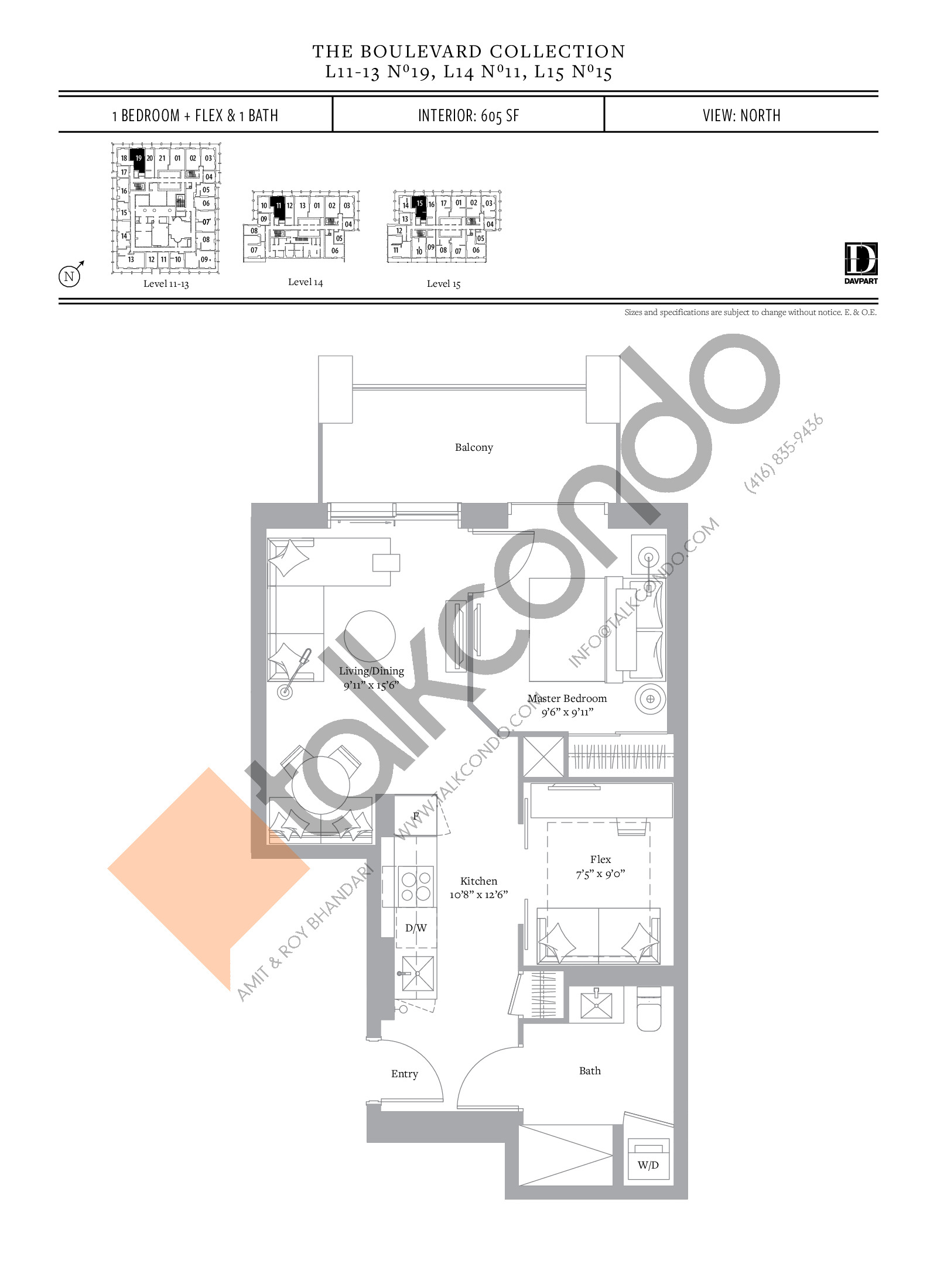 No 19, 11, 15 - The Boulevard Collection Floor Plan at The United Bldg. Condos - 605 sq.ft