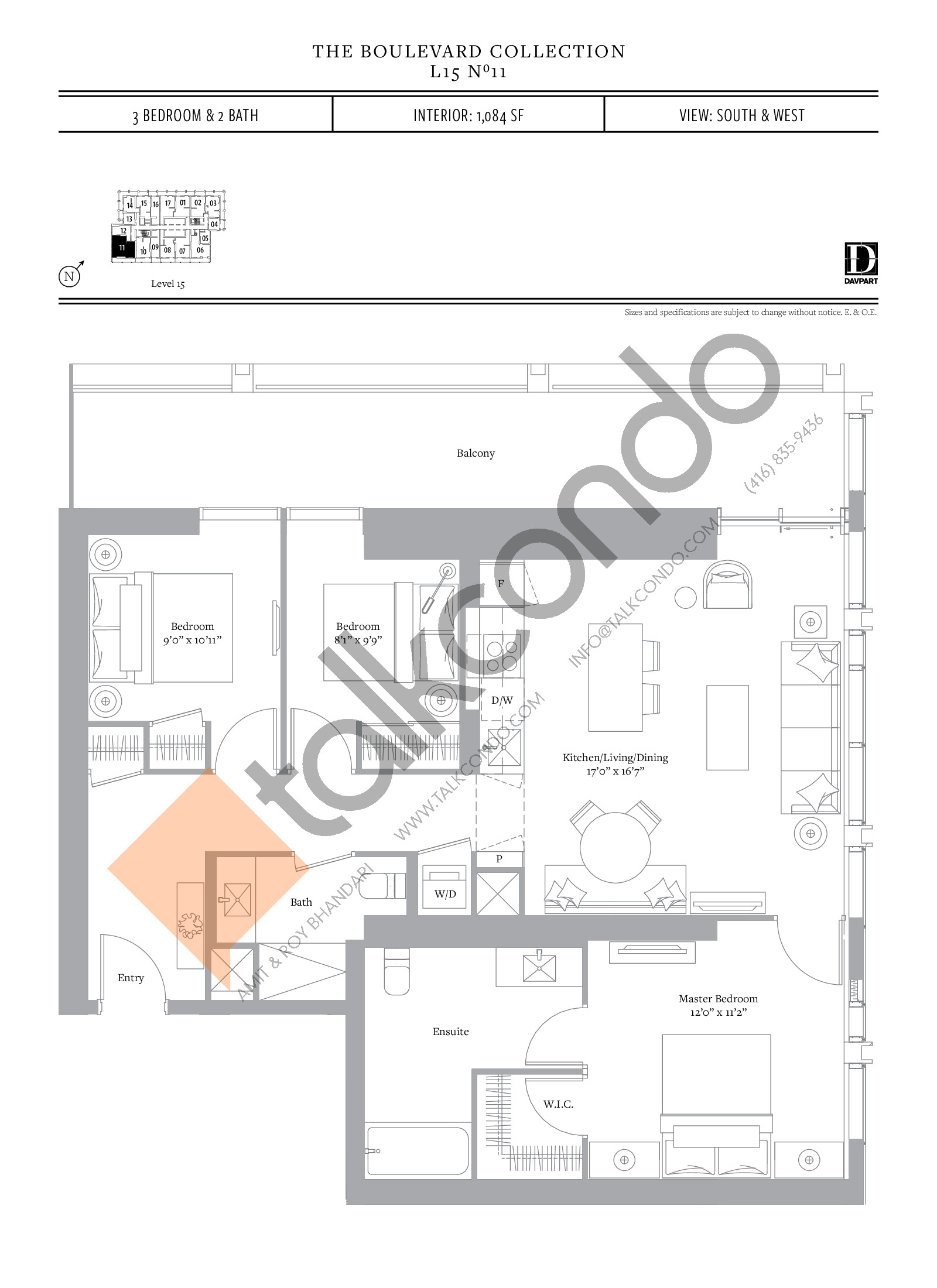 No 11 - The Boulevard Collection Floor Plan at The United Bldg. Condos - 1084 sq.ft