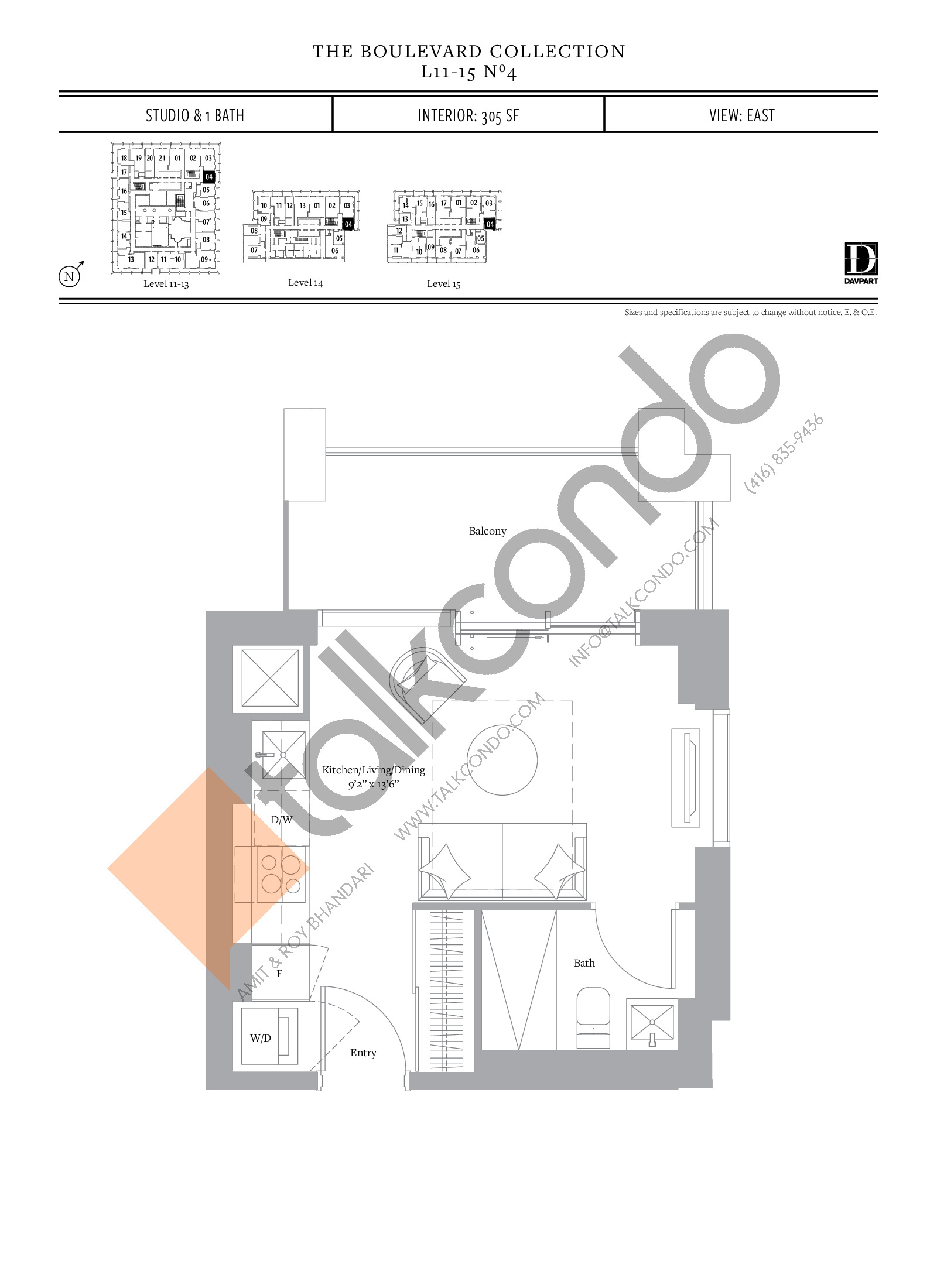 No 4 - The Boulevard Collection Floor Plan at The United Bldg. Condos - 305 sq.ft