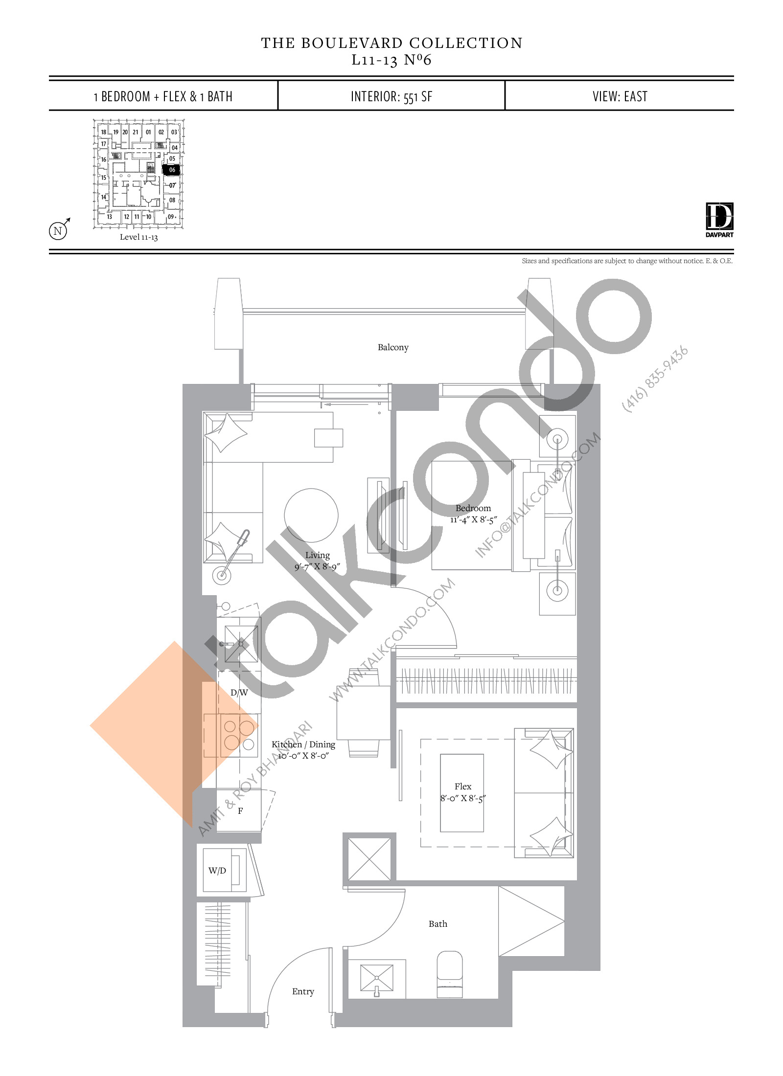 No 6 - The Boulevard Collection Floor Plan at The United Bldg. Condos - 551 sq.ft