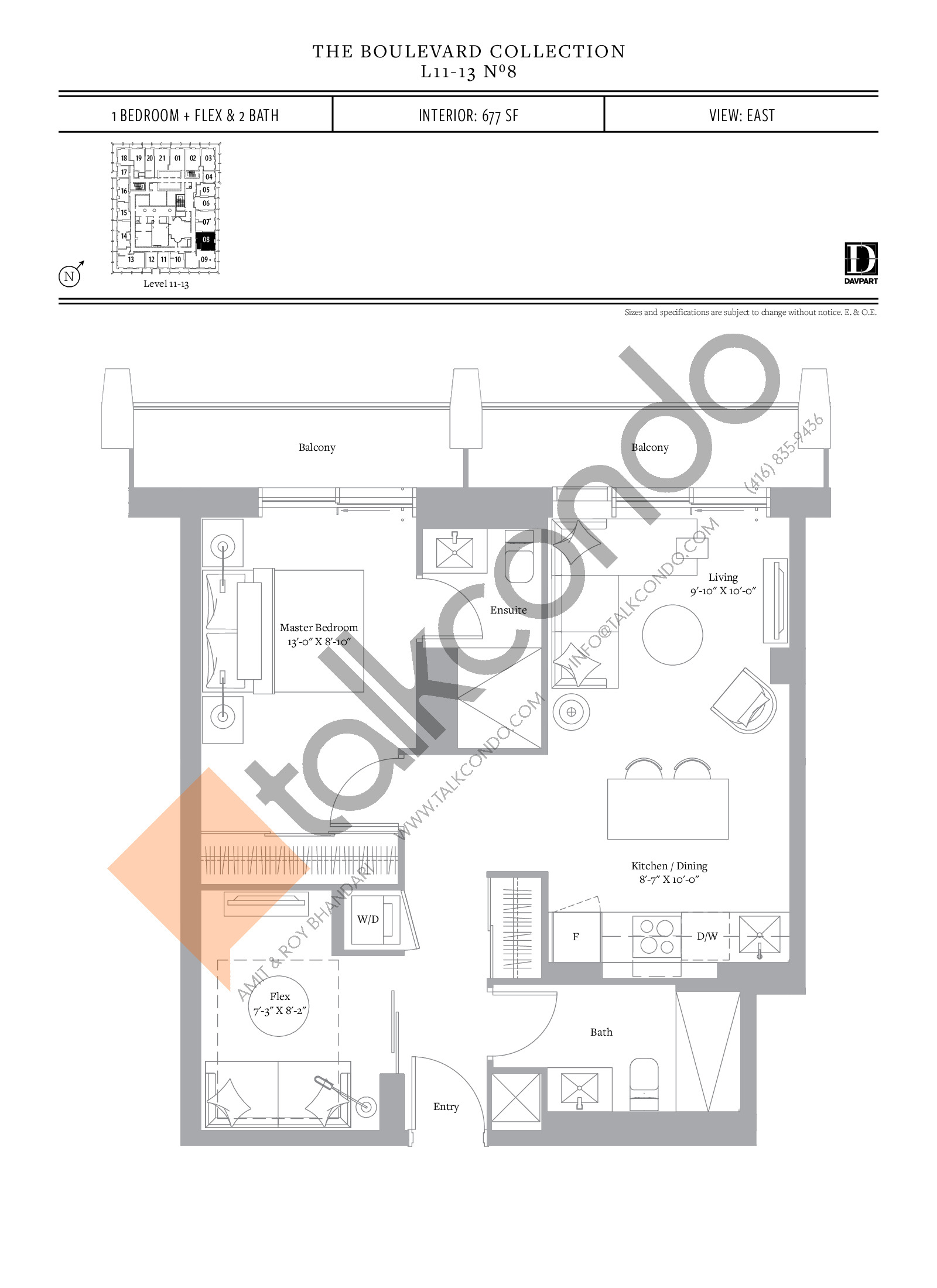 No 8 - The Boulevard Collection Floor Plan at The United Bldg. Condos - 677 sq.ft