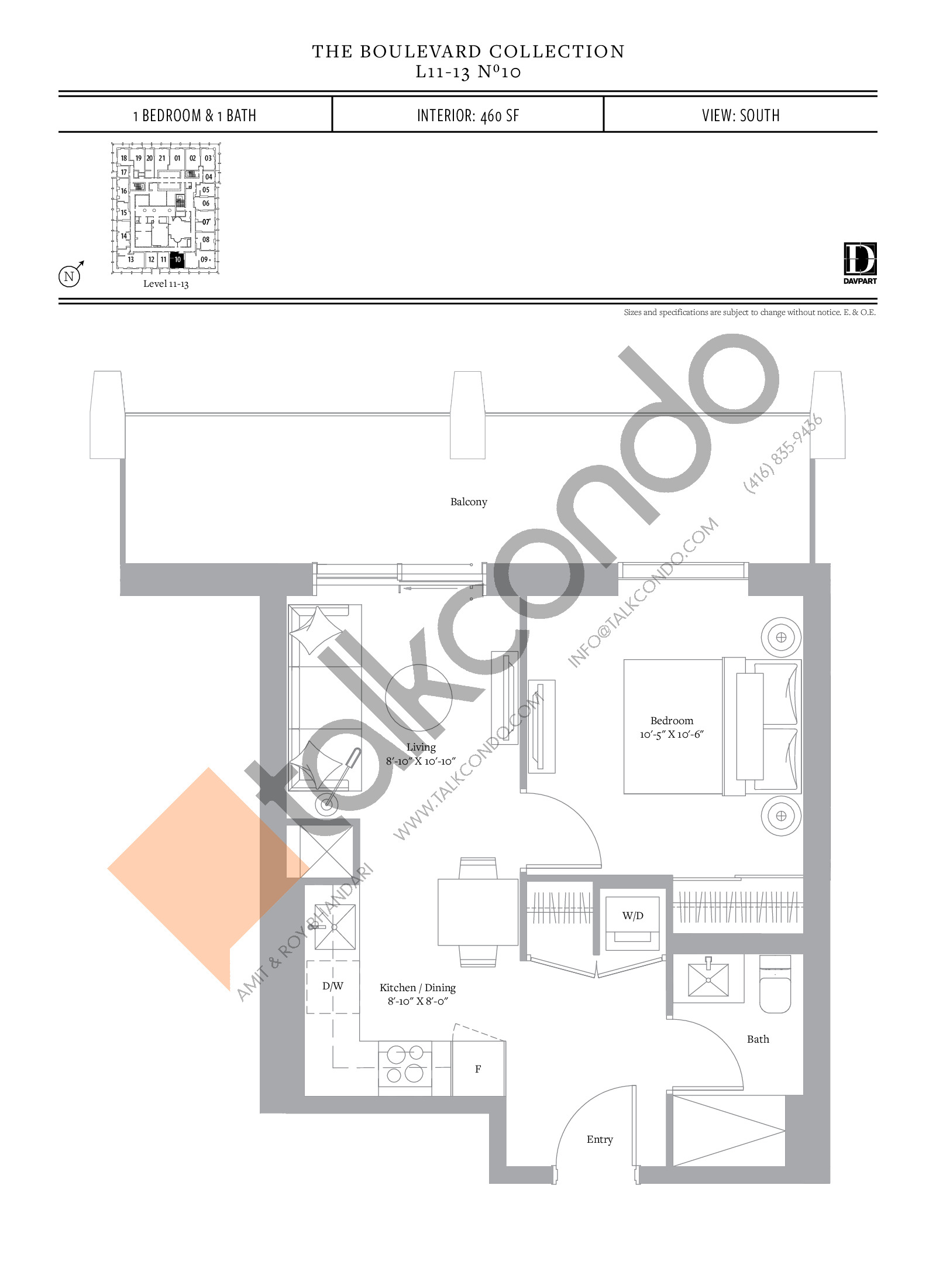 No 10 - The Boulevard Collection Floor Plan at The United Bldg. Condos - 460 sq.ft