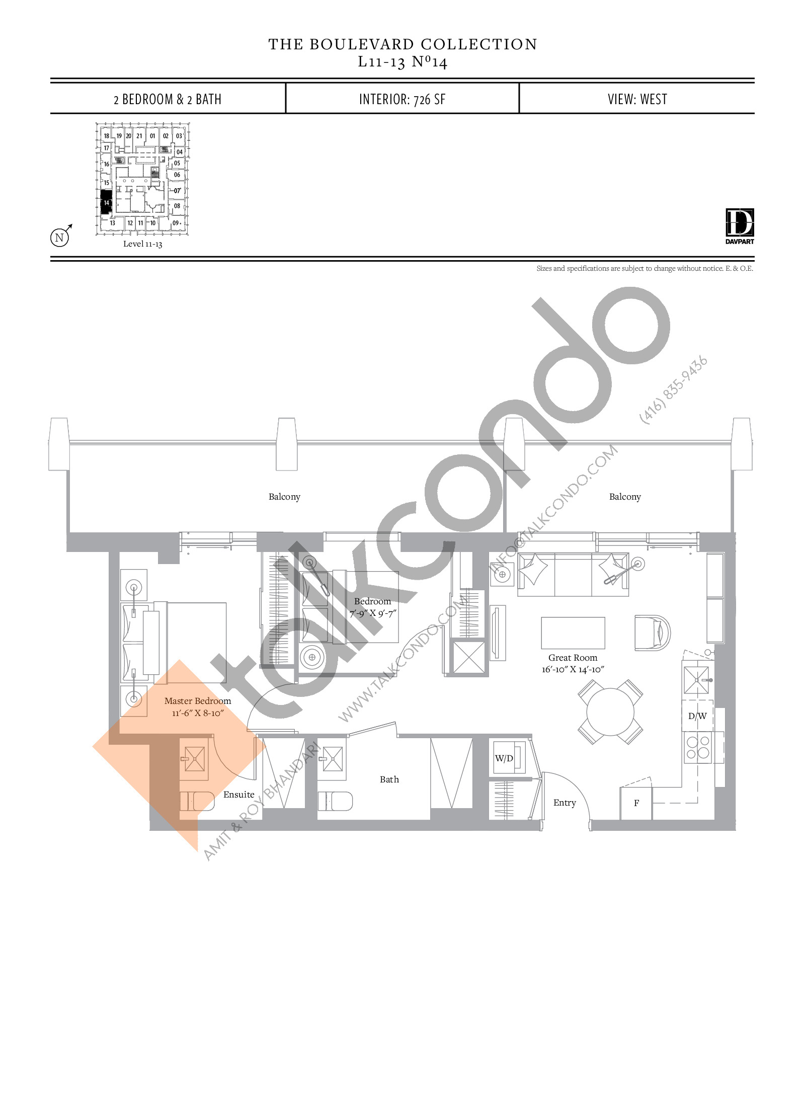 No 14 - The Boulevard Collection Floor Plan at The United Bldg. Condos - 726 sq.ft