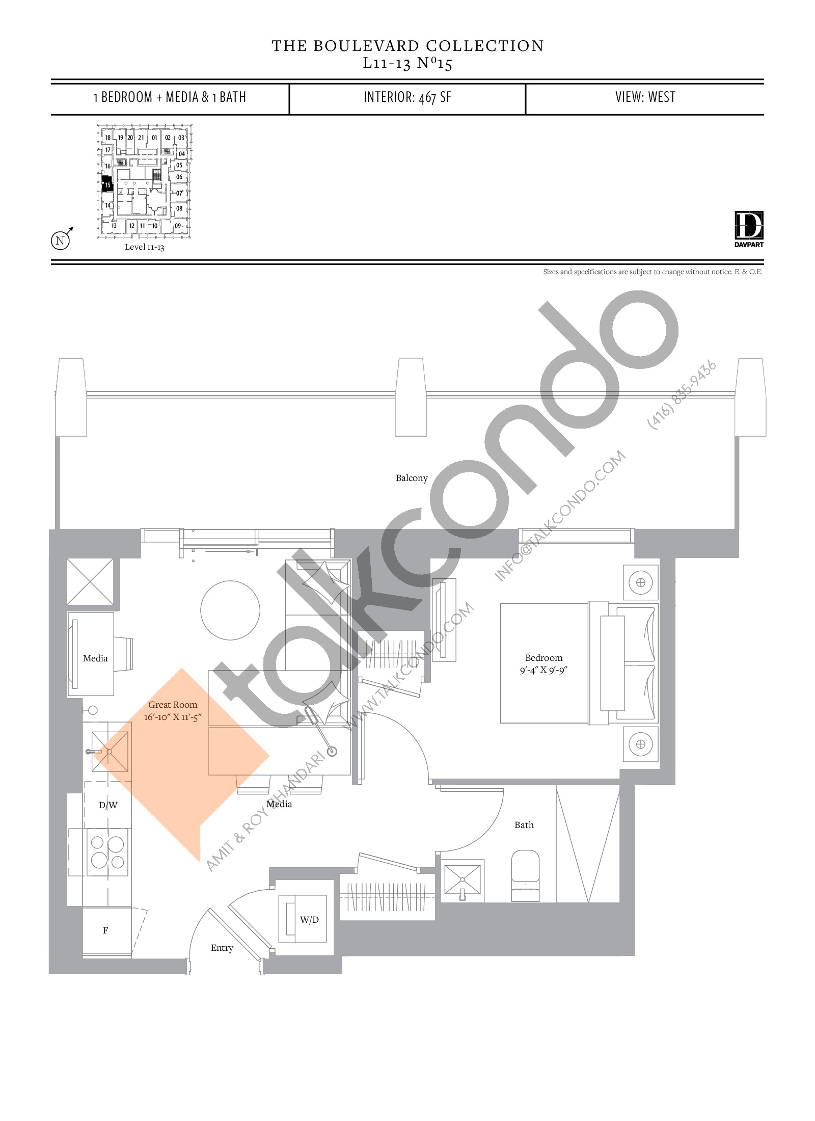No 15 - The Boulevard Collection Floor Plan at The United Bldg. Condos - 467 sq.ft