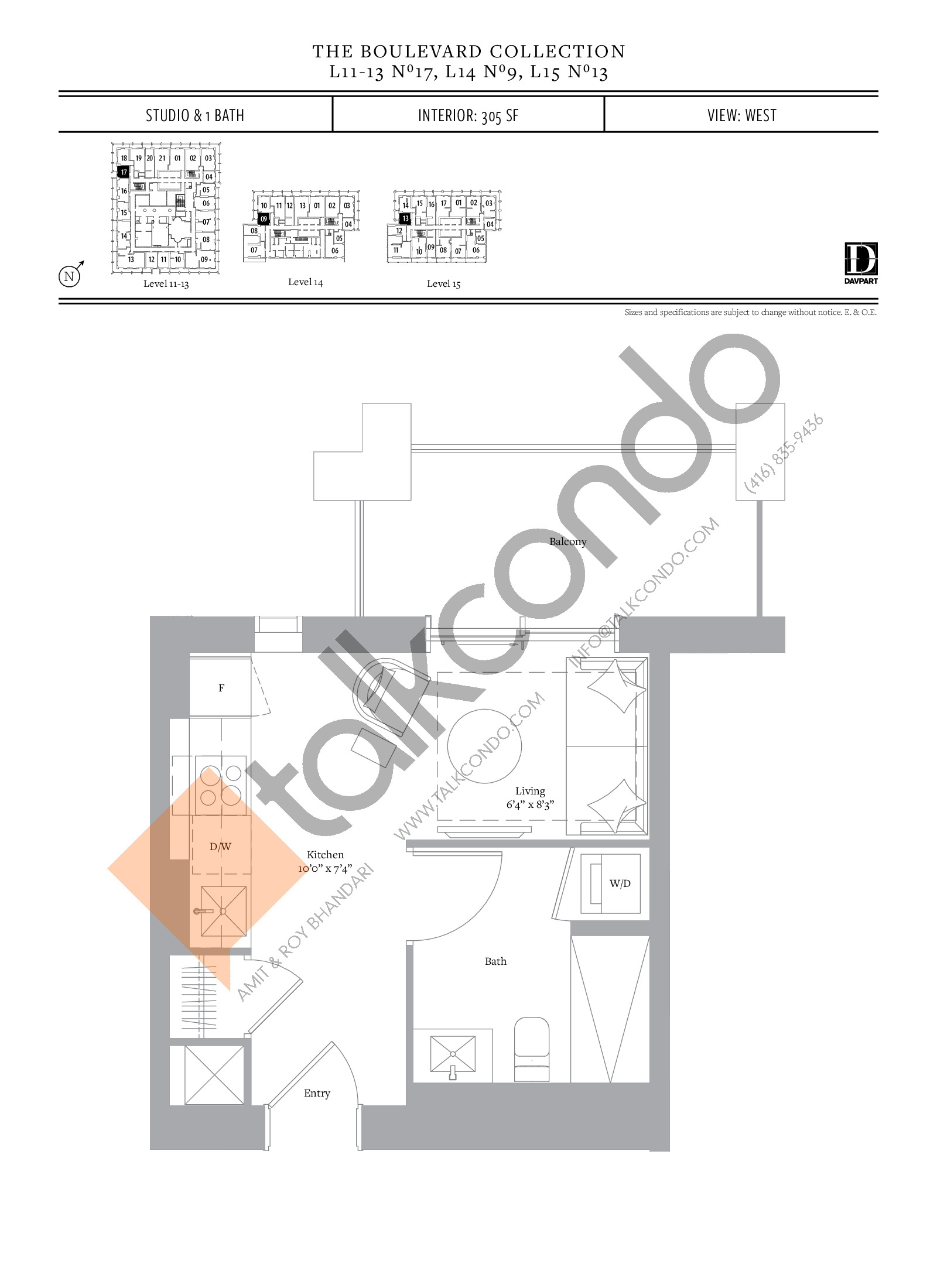 No 17, 9, 13 - The Boulevard Collection Floor Plan at The United Bldg. Condos - 305 sq.ft