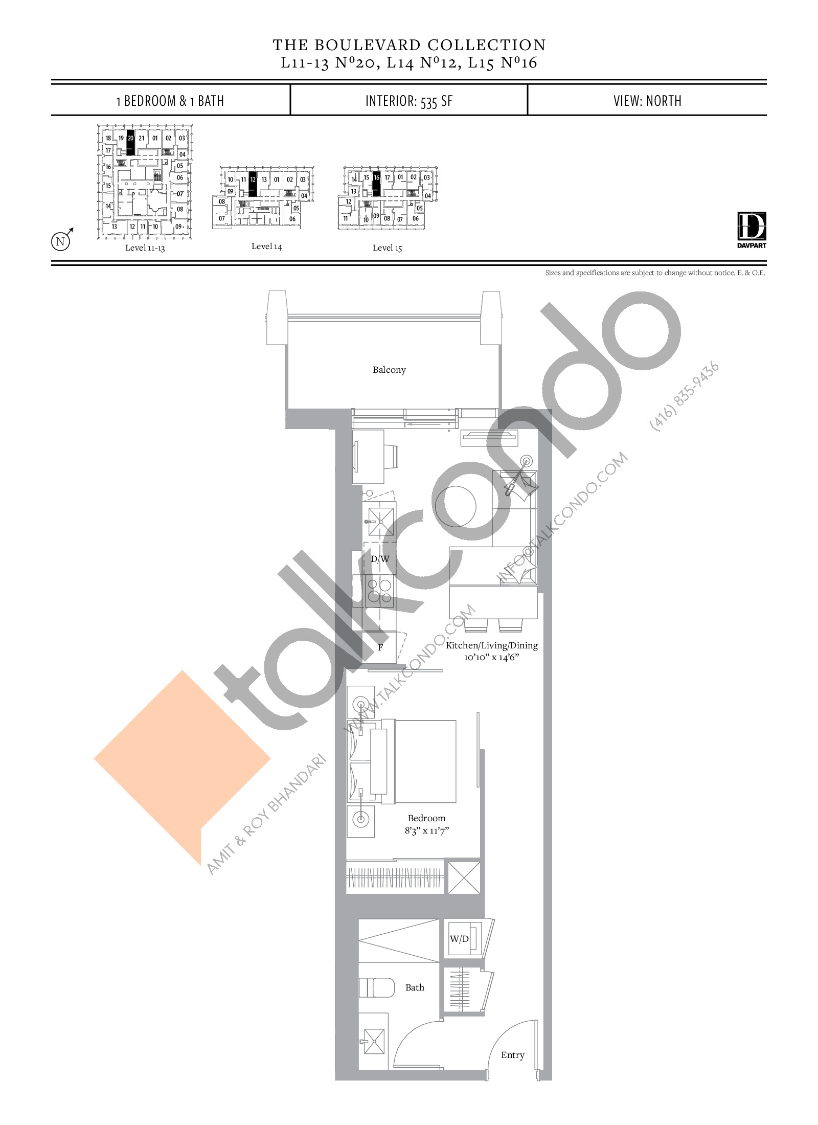 No 20, 12, 16 - The Boulevard Collection Floor Plan at The United Bldg. Condos - 535 sq.ft
