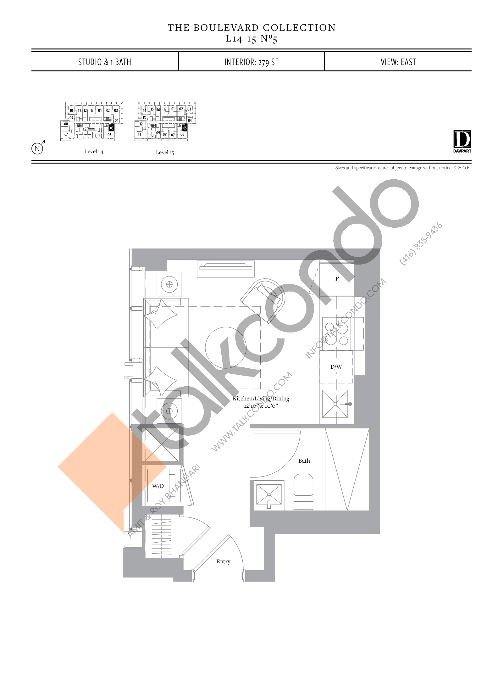 No 5 - The Boulevard Collection Floor Plan at The United Bldg. Condos - 279 sq.ft