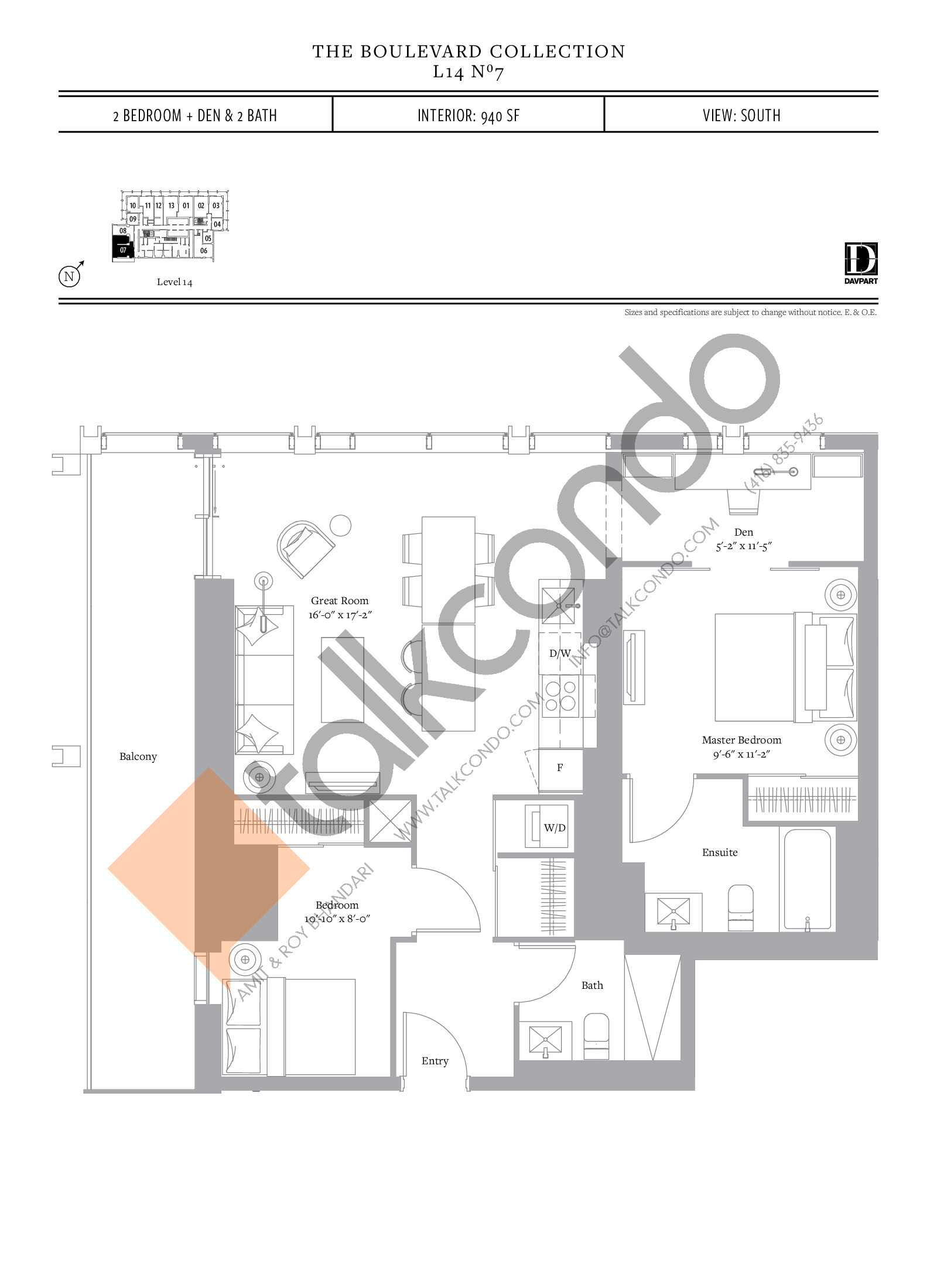 No 7 - The Boulevard Collection Floor Plan at The United Bldg. Condos - 940 sq.ft