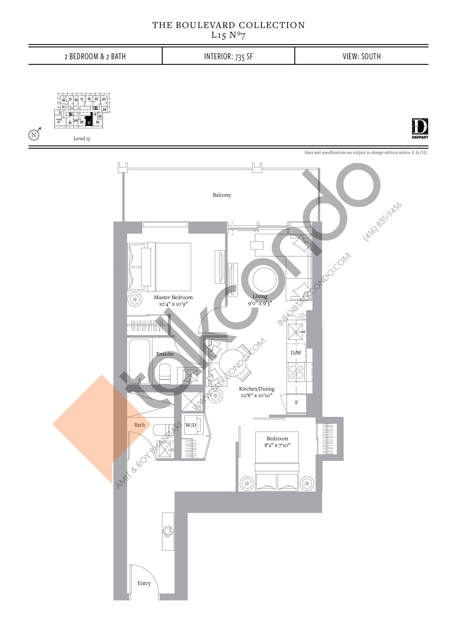 No 7 - The Boulevard Collection Floor Plan at The United Bldg. Condos - 735 sq.ft