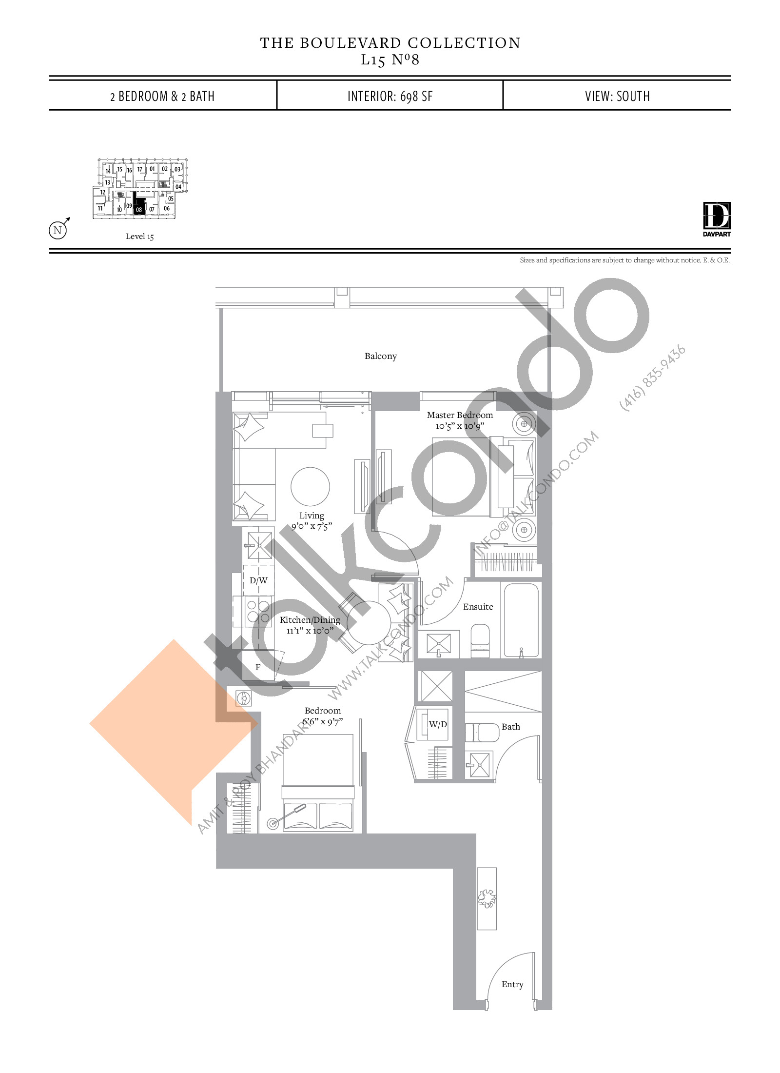 No 8 - The Boulevard Collection Floor Plan at The United Bldg. Condos - 698 sq.ft