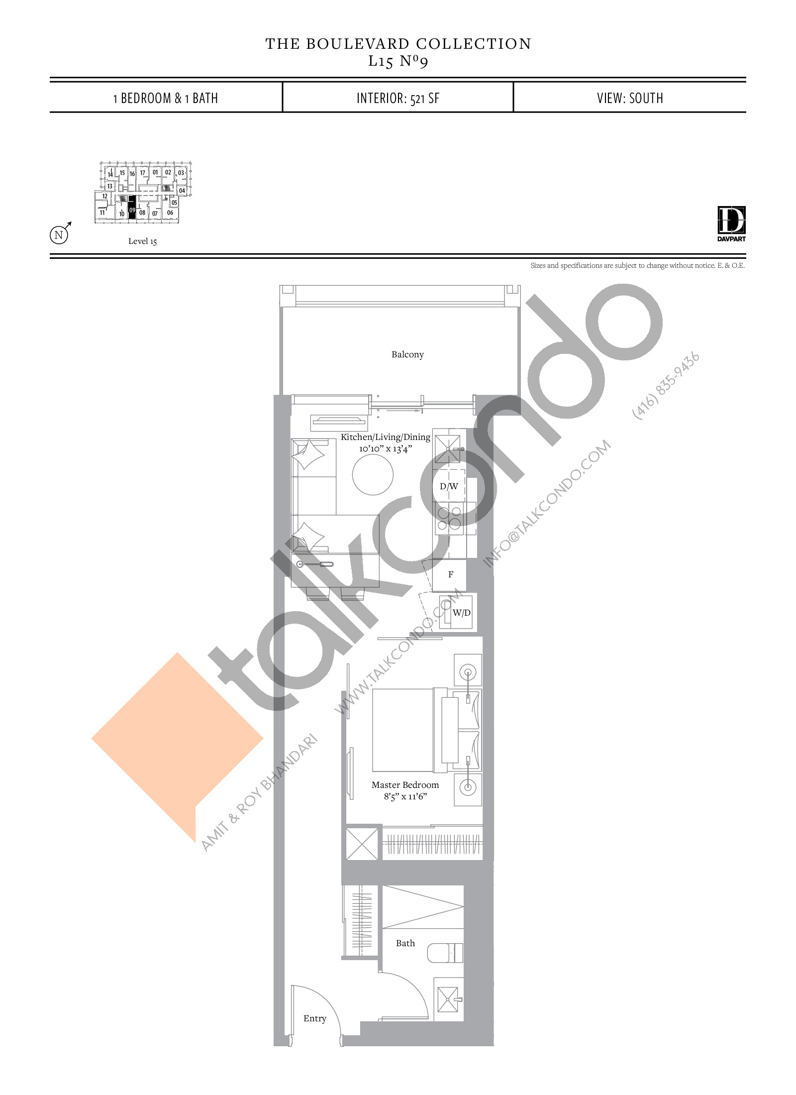 No 9 - The Boulevard Collection Floor Plan at The United Bldg. Condos - 521 sq.ft