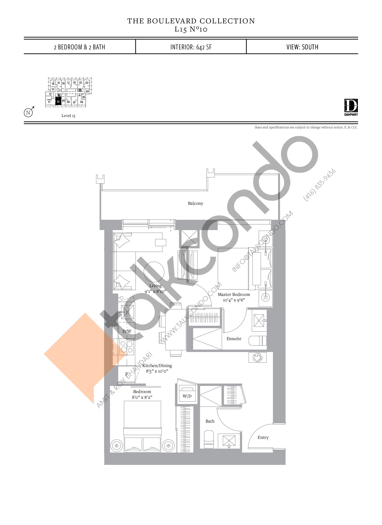 No 10 - The Boulevard Collection Floor Plan at The United Bldg. Condos - 642 sq.ft