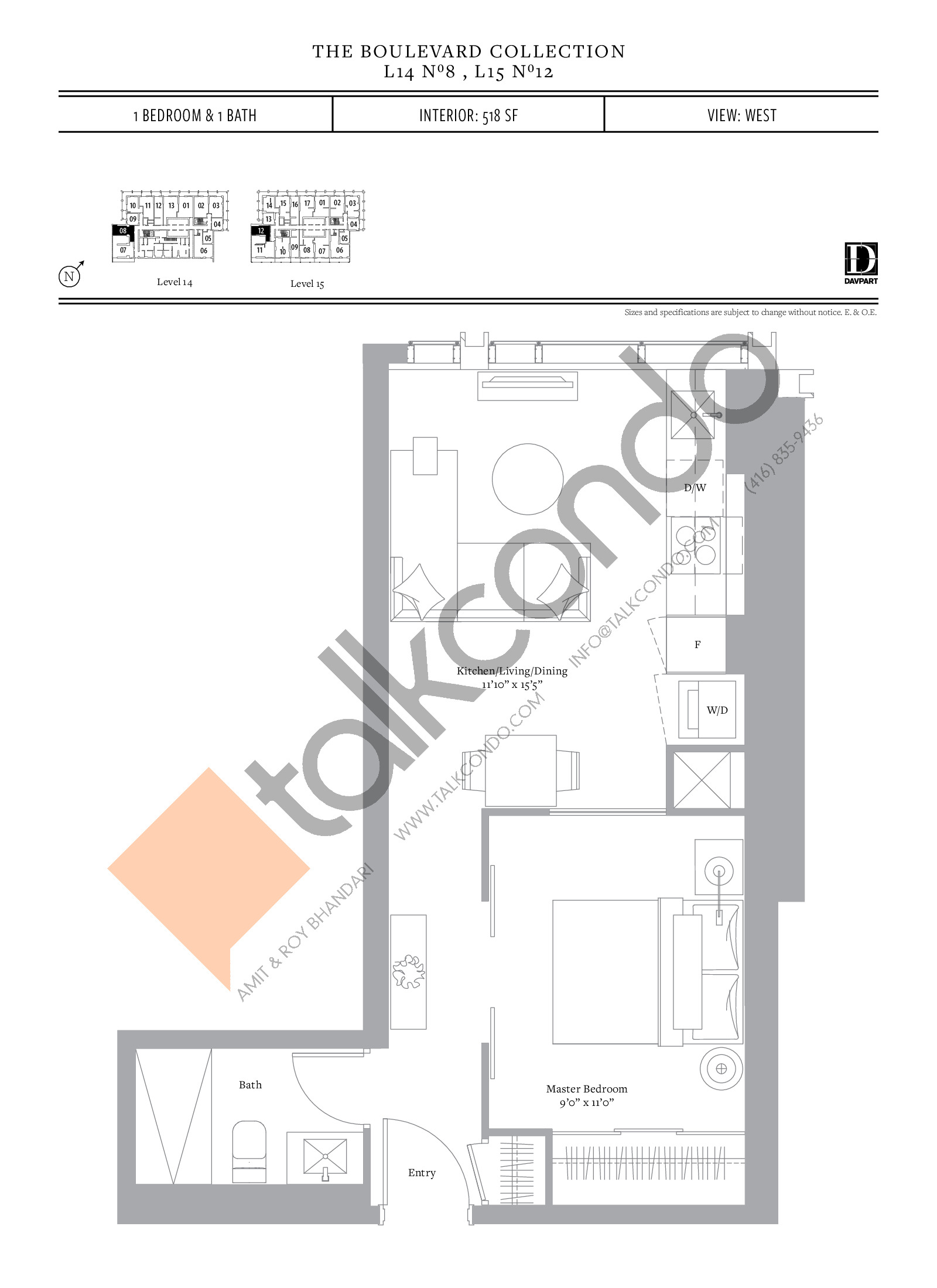 No 8, 12 - The Boulevard Collection Floor Plan at The United Bldg. Condos - 518 sq.ft