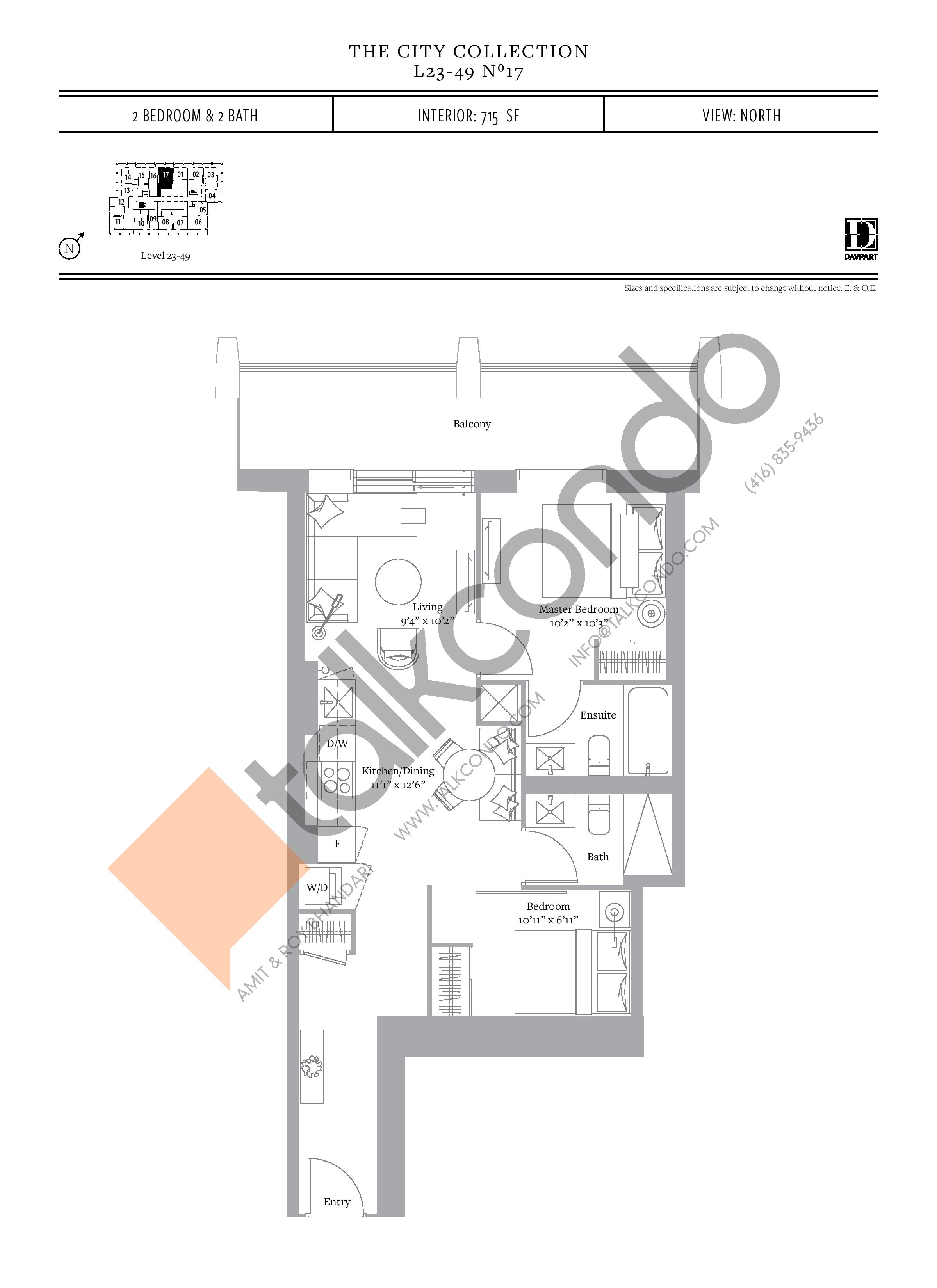 No 17 - The City Collection Floor Plan at The United Bldg. Condos - 715 sq.ft
