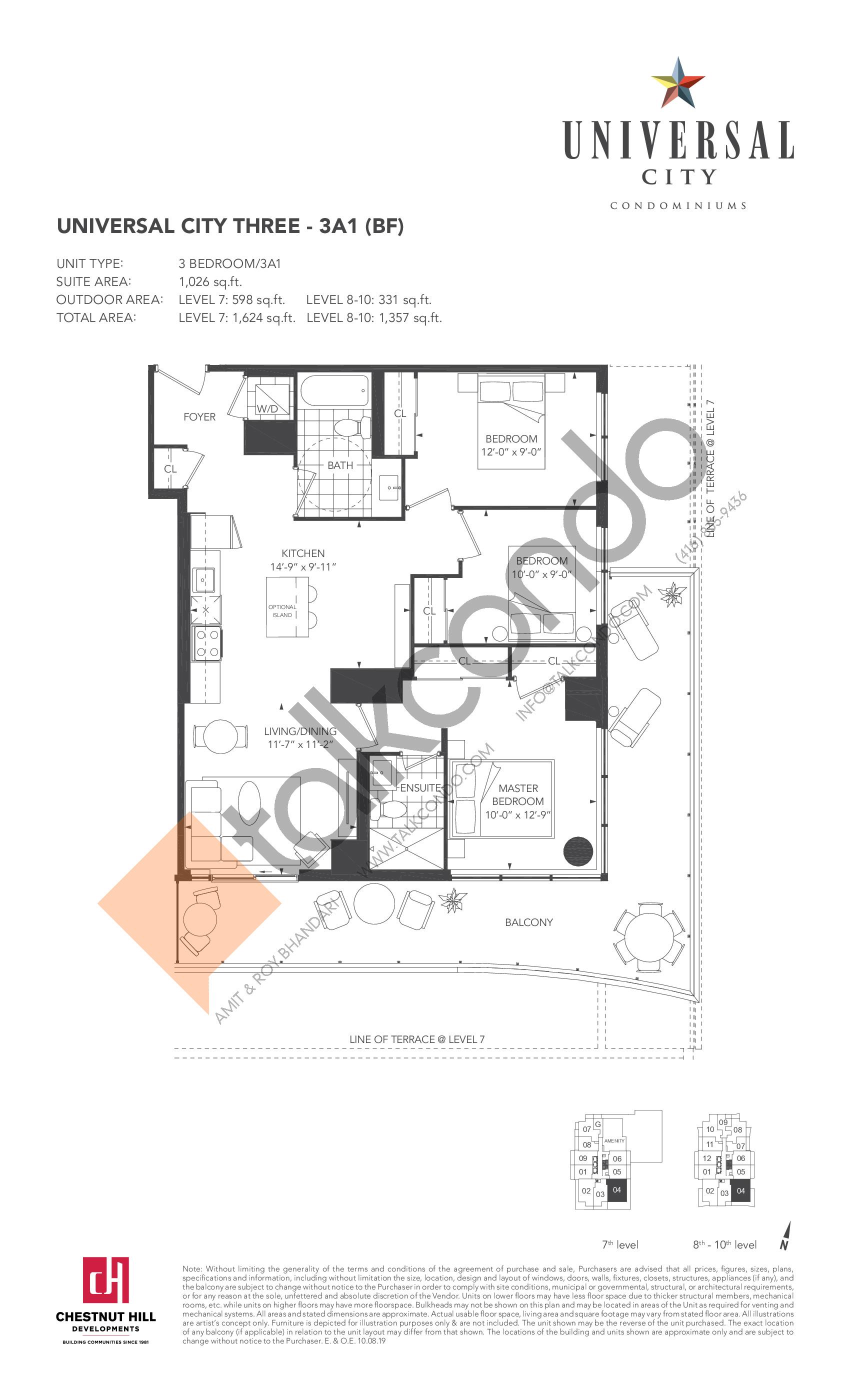 3A1 (BF) Floor Plan at Universal City Condos - Phase 3 - 1026 sq.ft