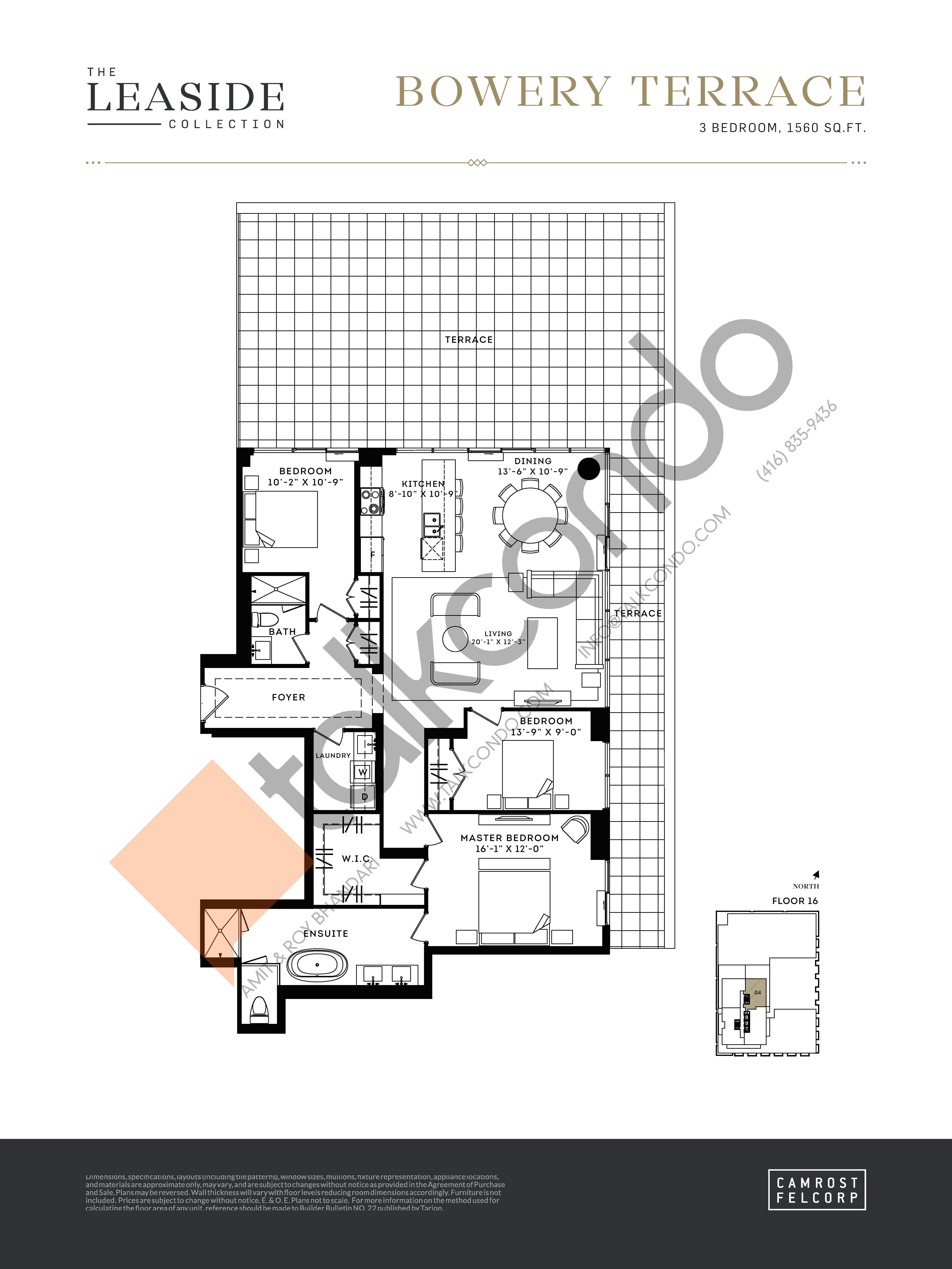 Bowery Terrace (The Leaside Collection) Floor Plan at Upper East Village Condos - 1560 sq.ft