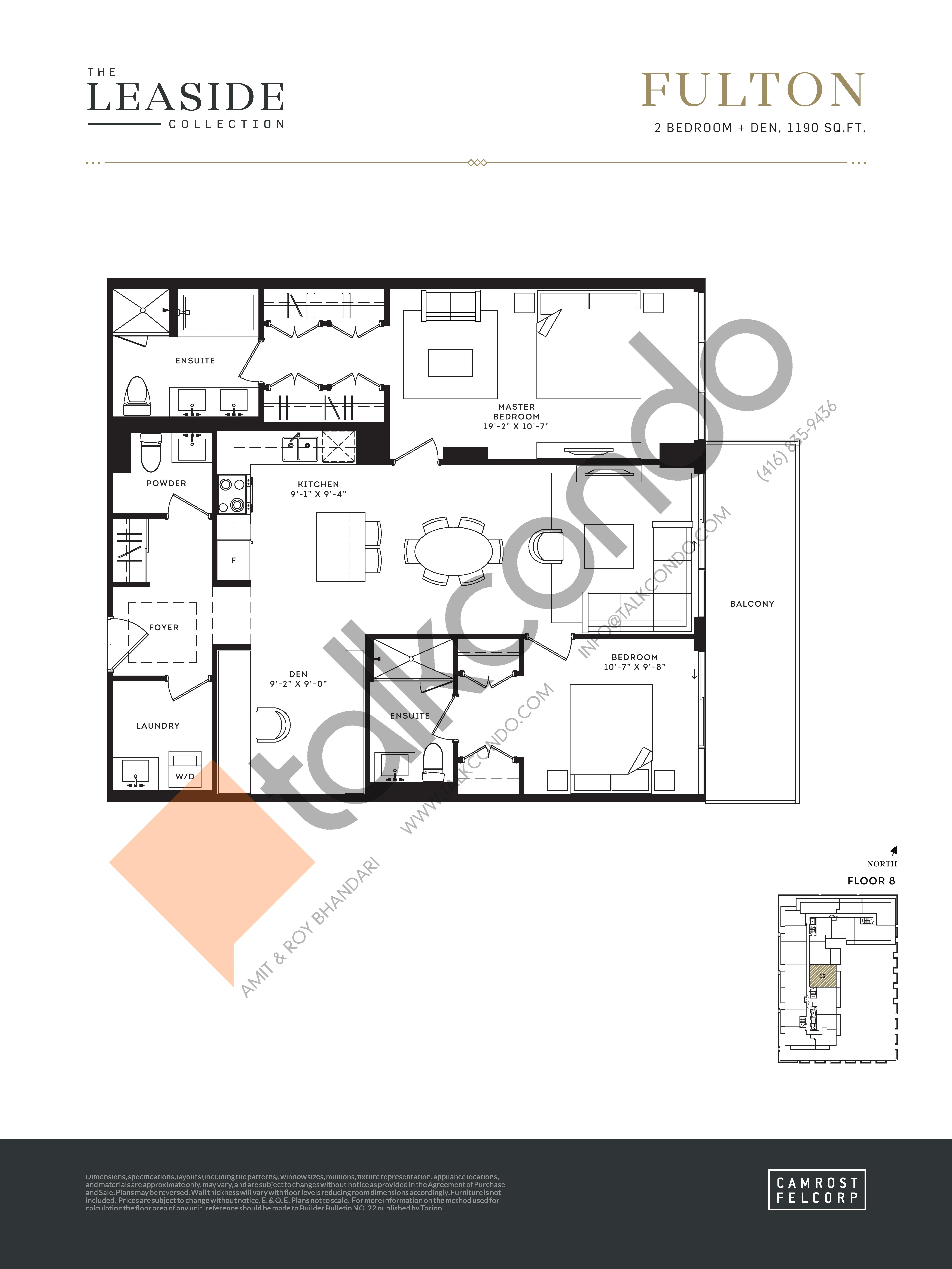Fulton (The Leaside Collection) Floor Plan at Upper East Village Condos - 1190 sq.ft