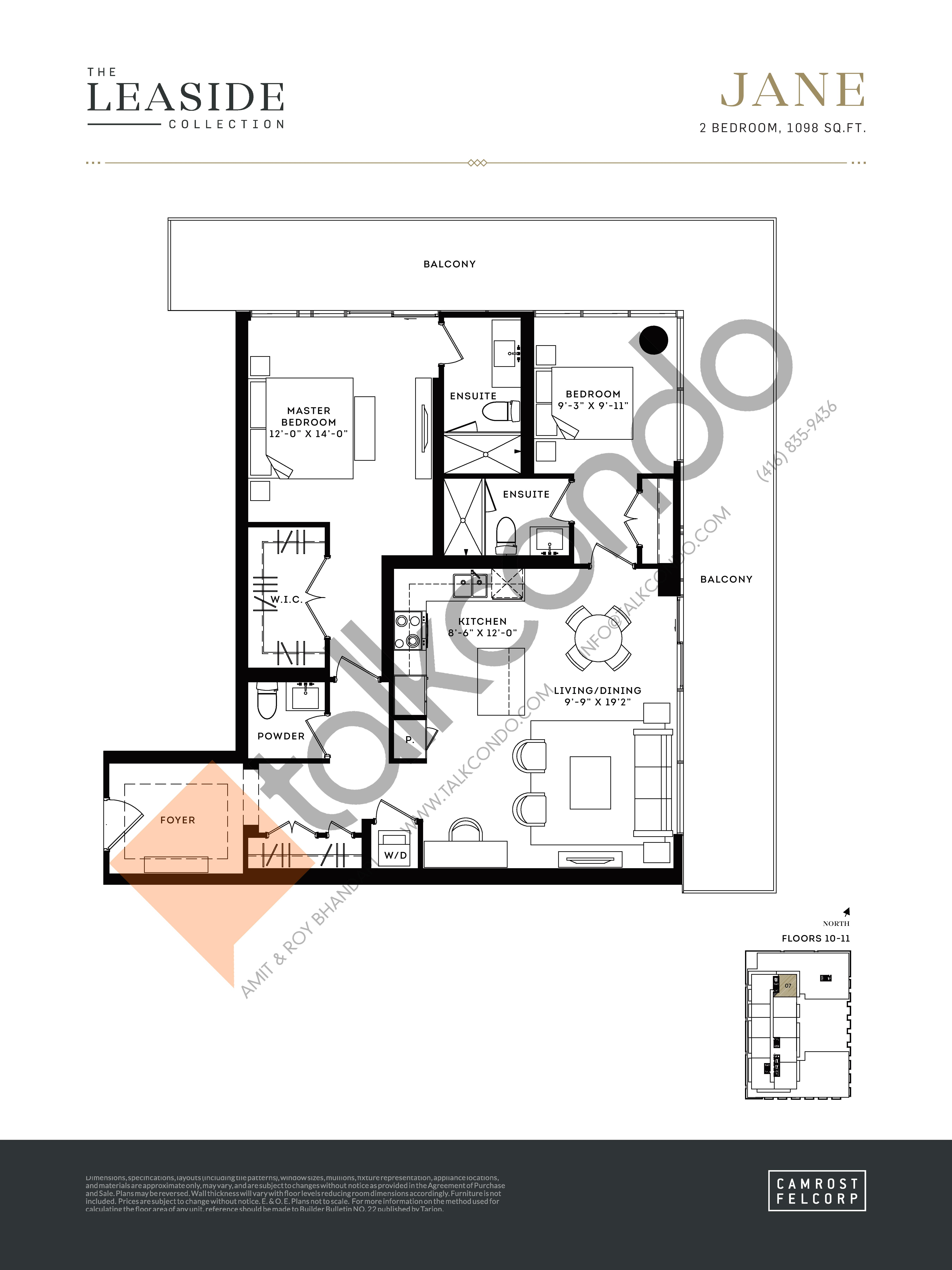 Jane (The Leaside Collection) Floor Plan at Upper East Village Condos - 1098 sq.ft