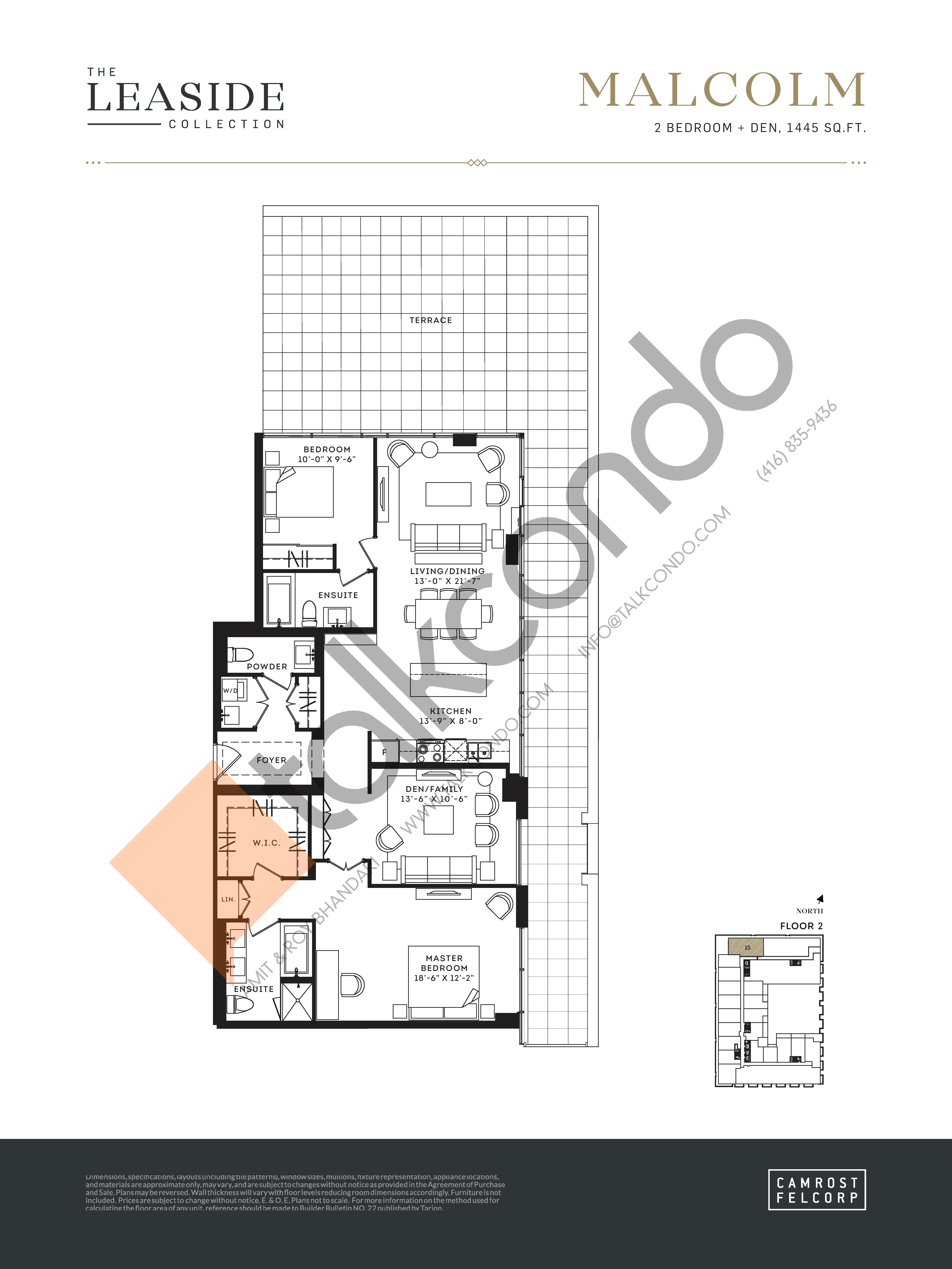 Malcolm (The Leaside Collection) Floor Plan at Upper East Village Condos - 1445 sq.ft